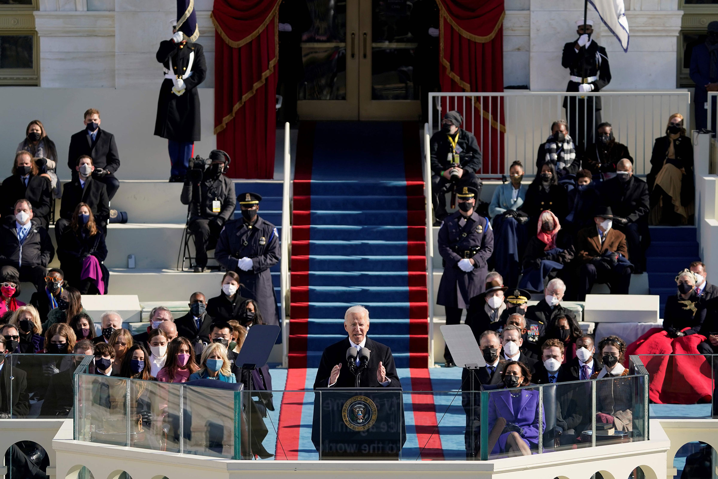 President Joe Biden delivers his inauguration speech after being sworn in as the 46th President of the United States in Washington on Jan. 20, 2021.