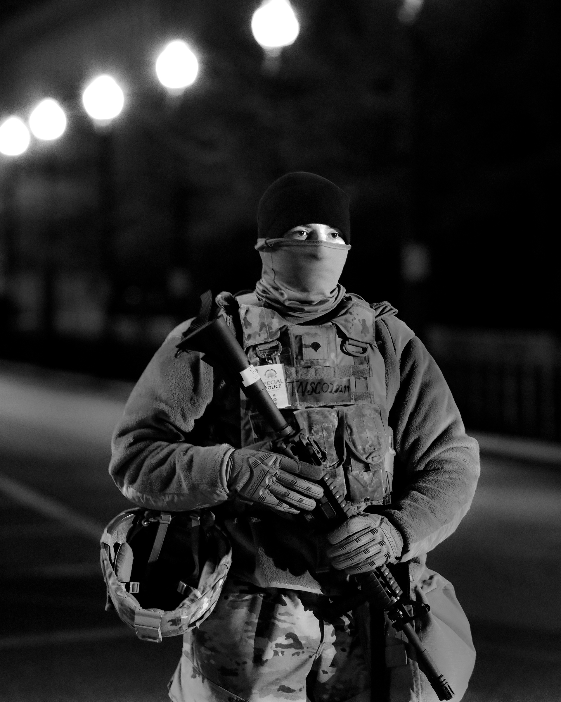 A member of the National Guard stands sentry outside the Capitol