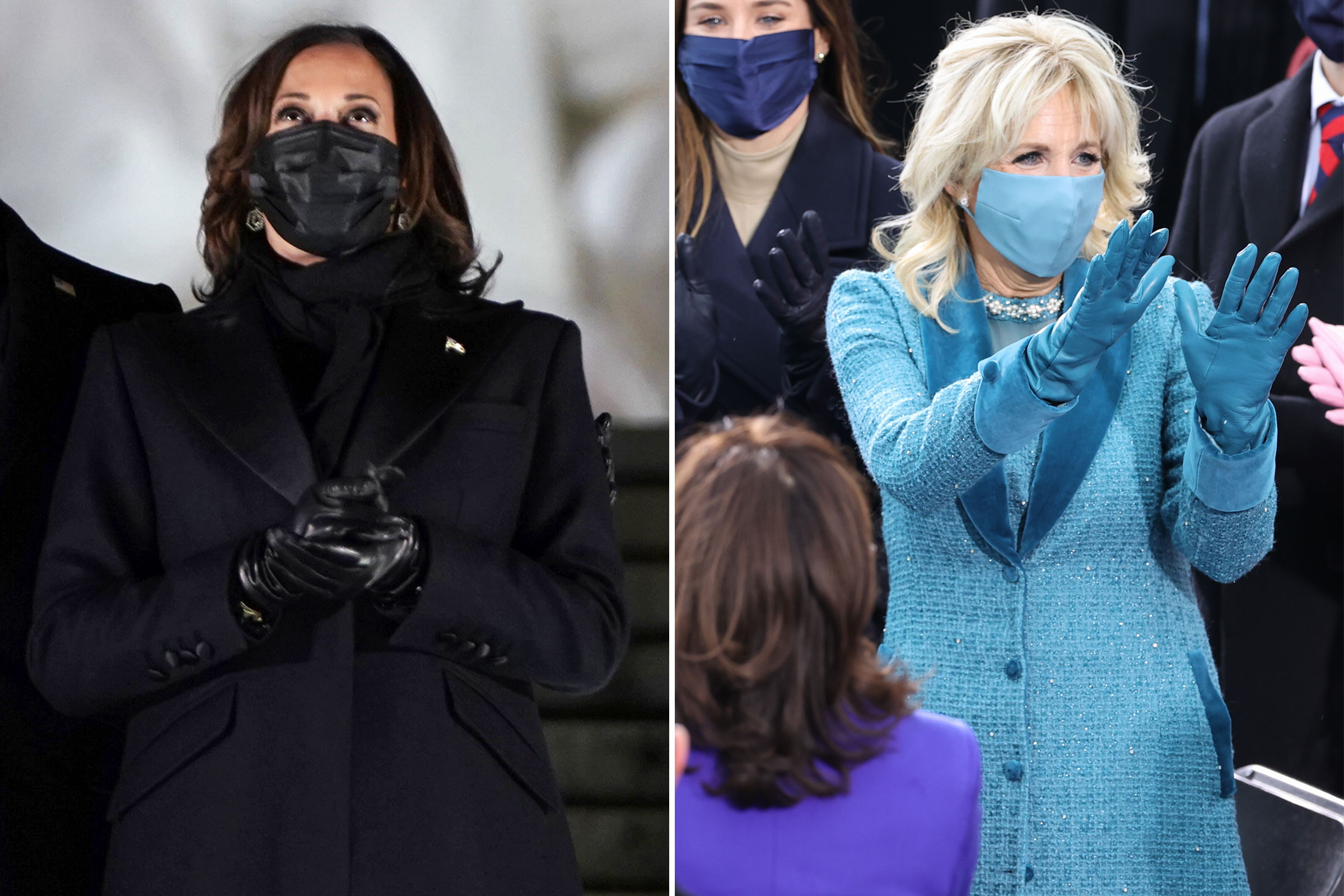 Vice-President Kamala Harris attends a televised ceremony at the Lincoln Memorial on Jan. 20; Dr. Jill Biden during the Inauguration Day ceremony on Jan. 20