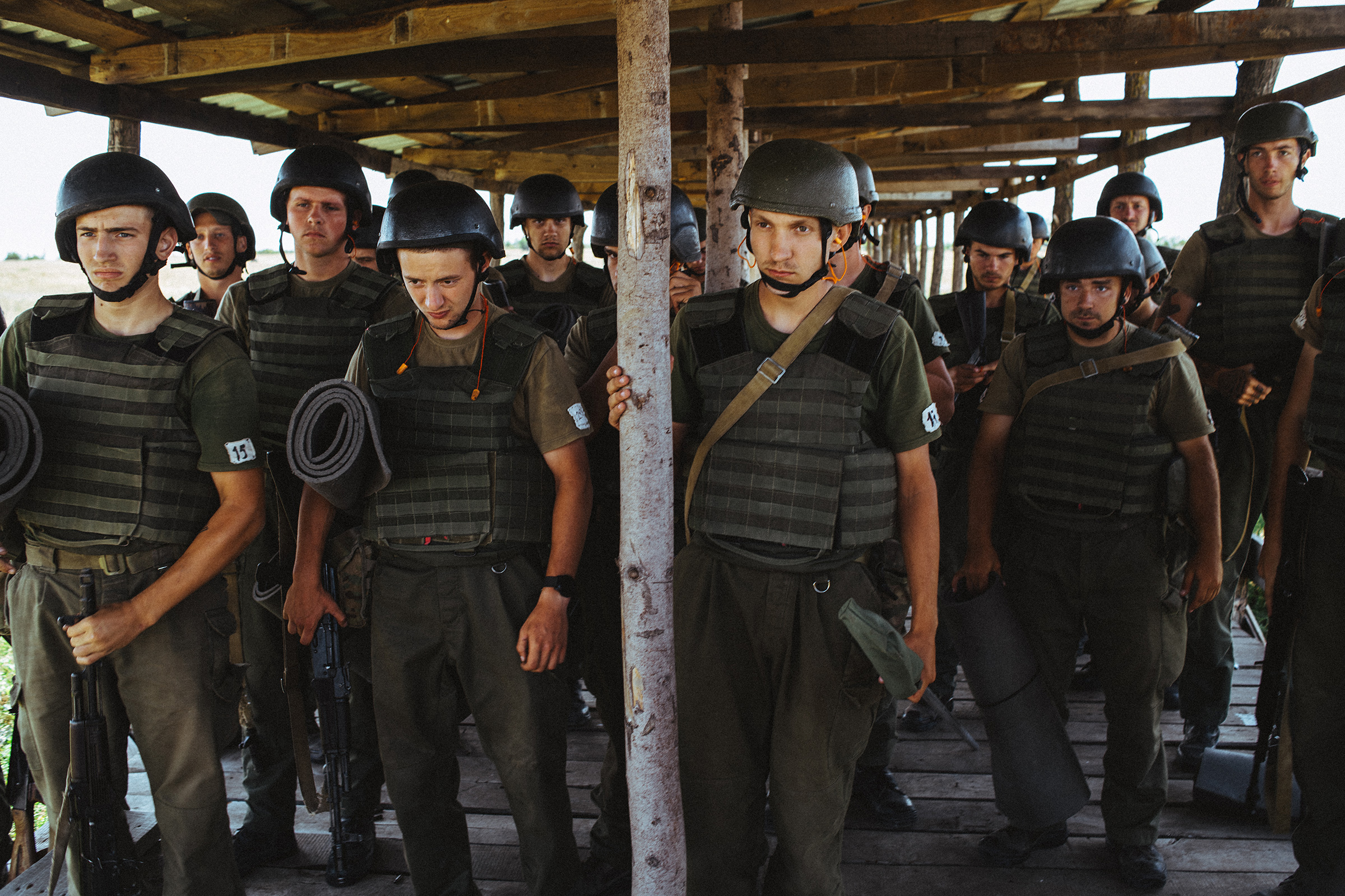 New recruits take part in basic training at one of Azov's bases near the frontline city of Mariupol in eastern Ukraine in August 2019.