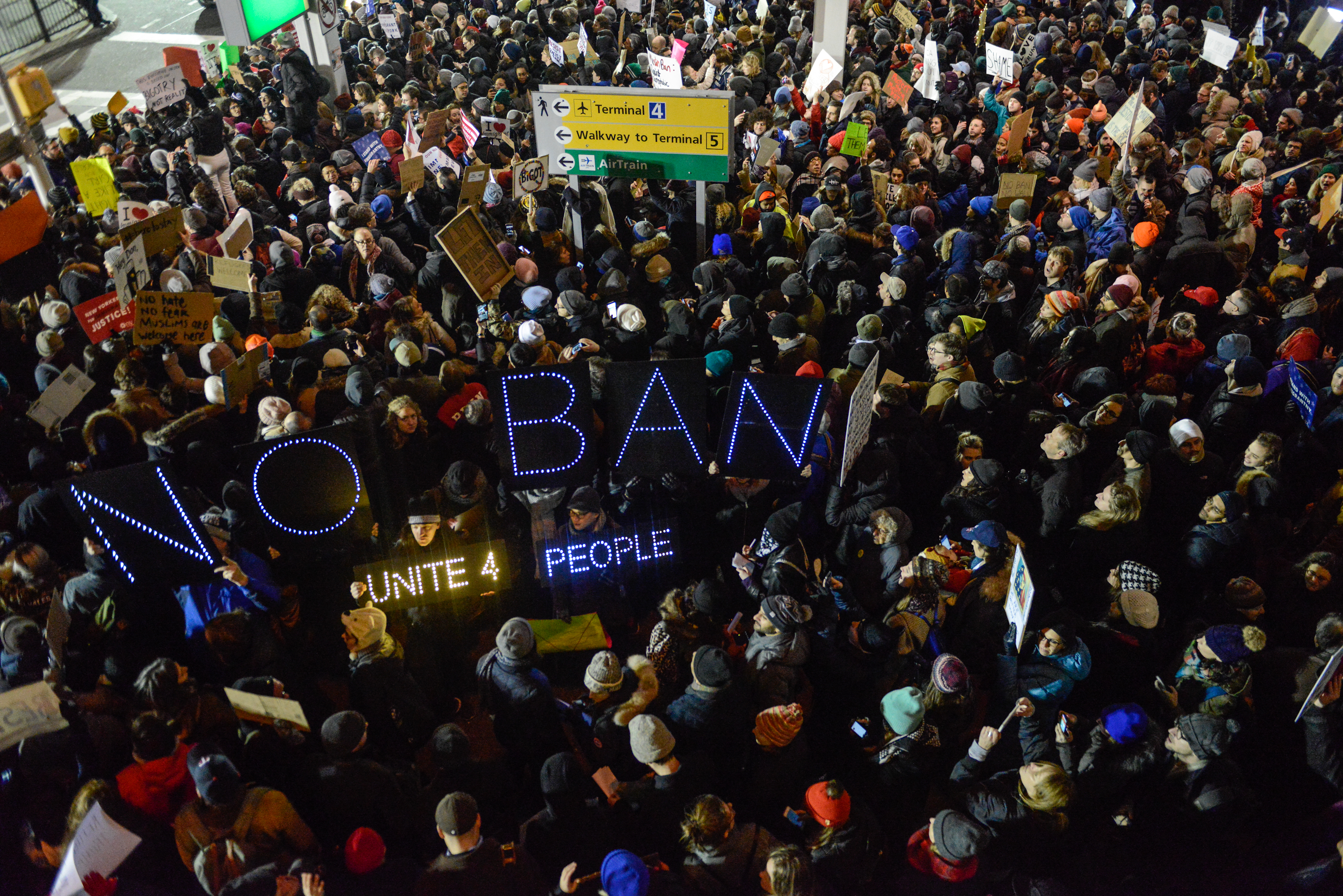Protestors rally during a demonstration against the so-called  Muslim  ban at John F. Kennedy International Airport on Jan. 28, 2017 in New York City.