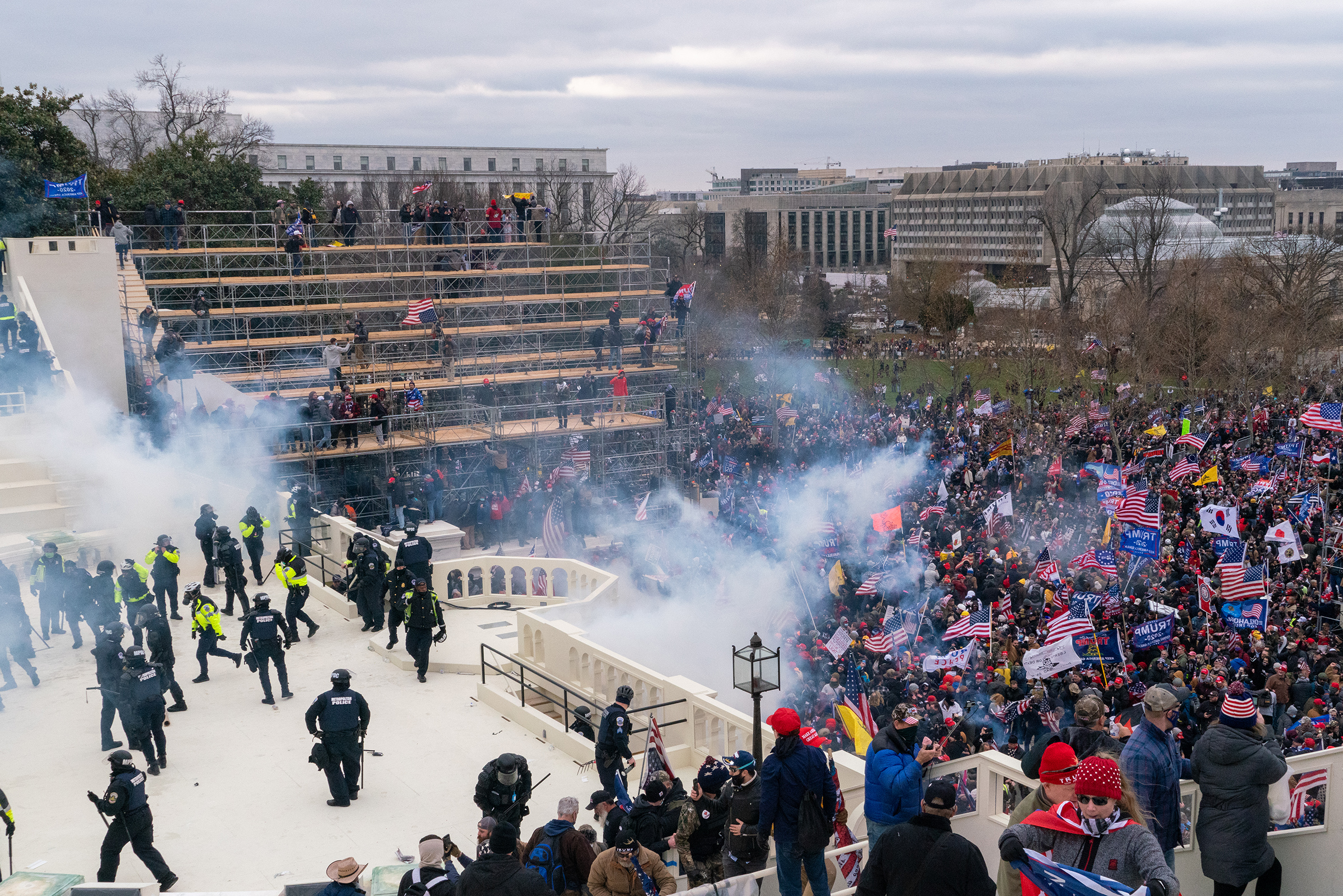 Rioters objecting to the certification of President-elect Joe Biden by Congress were briefly blocked by police outside the Capitol before gaining entry on Jan. 6. They wreaked havoc before being expelled.