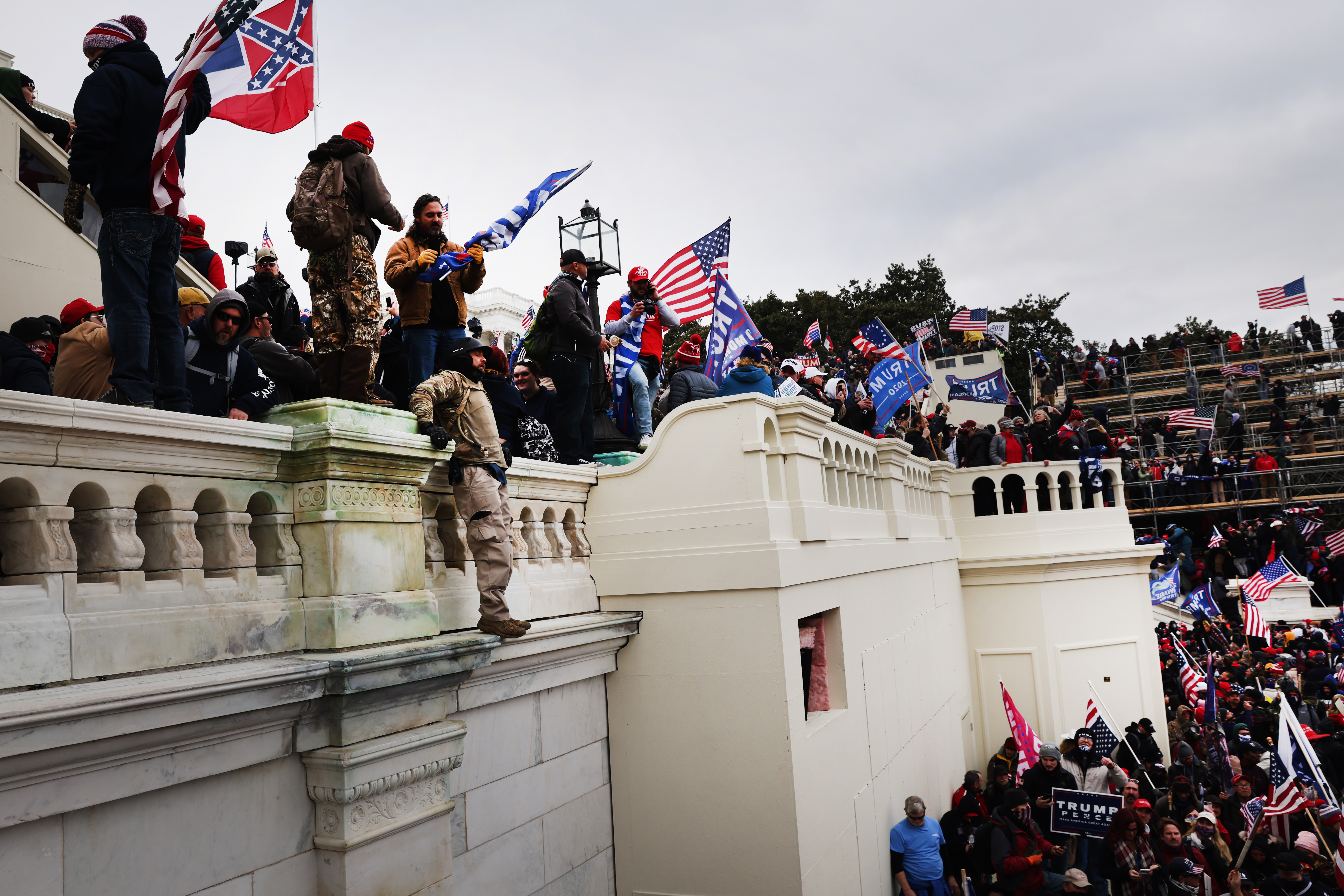 Thousands of rioters storm the U.S. Capitol building following a  Stop the Steal  rally on Jan. 06, 2021 in Washington, D.C.