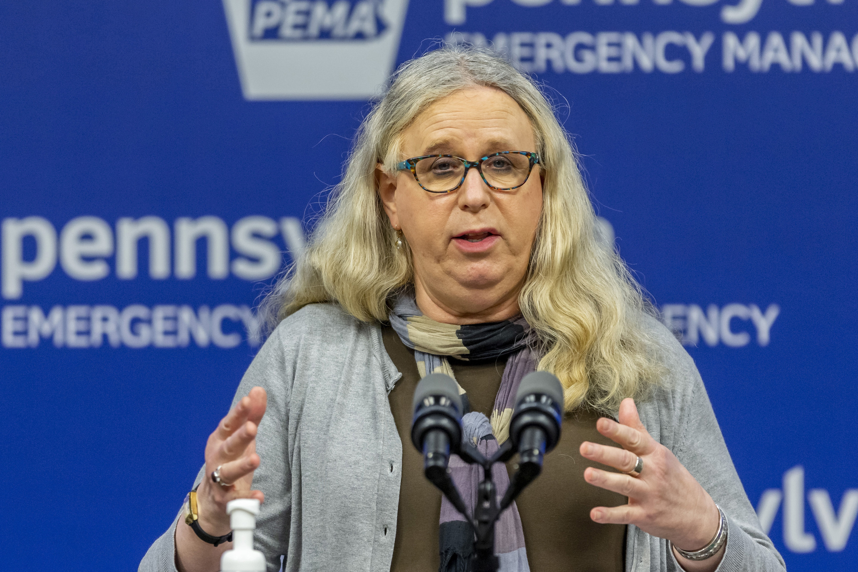 In this May 29, 2020, file photo, Pennsylvania Secretary of Health Dr. Rachel Levine meets with the media at the Pennsylvania Emergency Management Agency (PEMA) headquarters in Harrisburg, Pa.