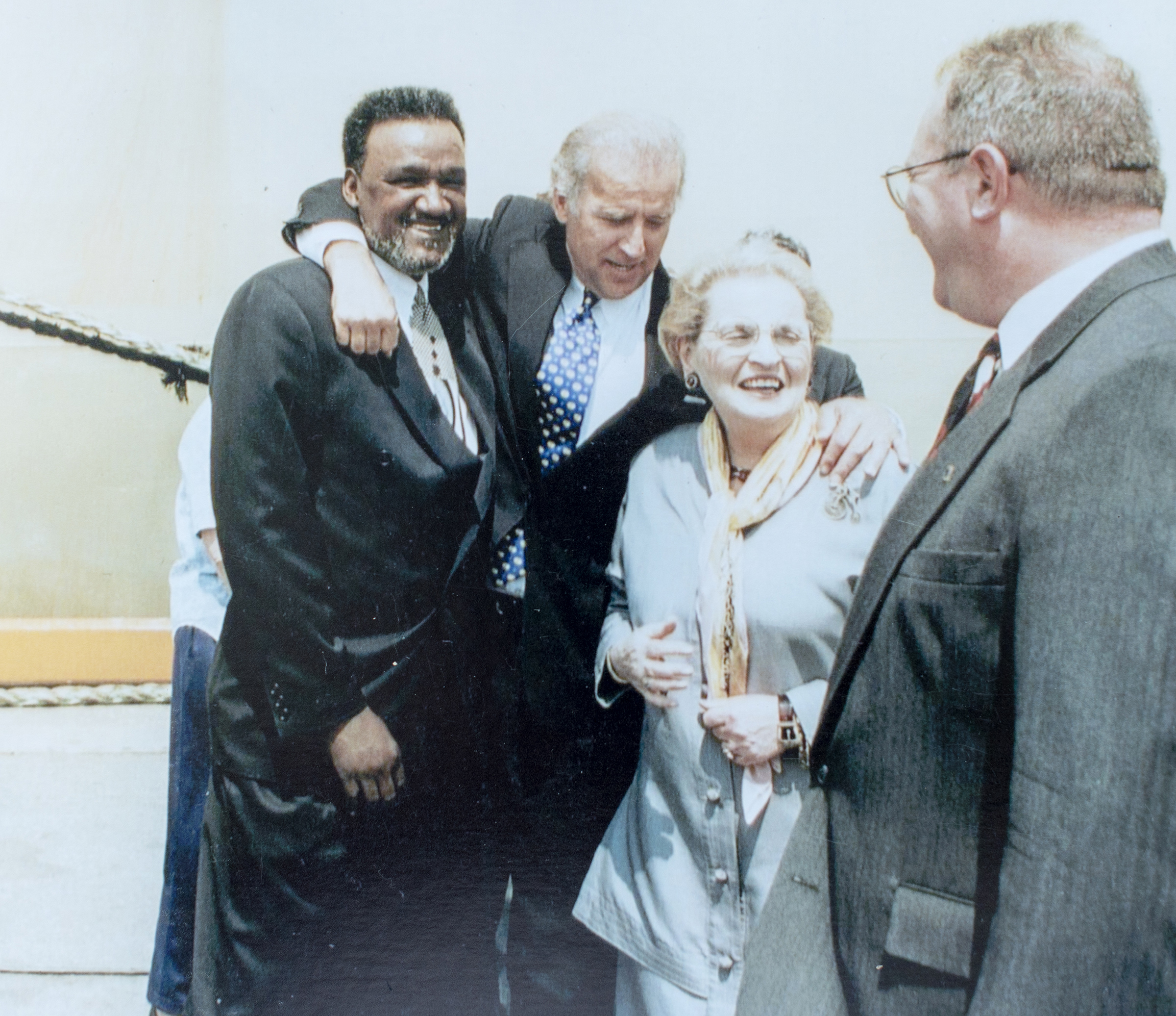 Richard  Mouse  Smith, left, with President Joe Biden, Madeleine Albright and Adam McBride sometime in the mid '90's. Smith is a Civil Rights leader in Delaware who has been friends with Biden since they were both young and when Biden was a lifeguard at the pool in Smith's neighborhood. Biden was best man at his wedding.