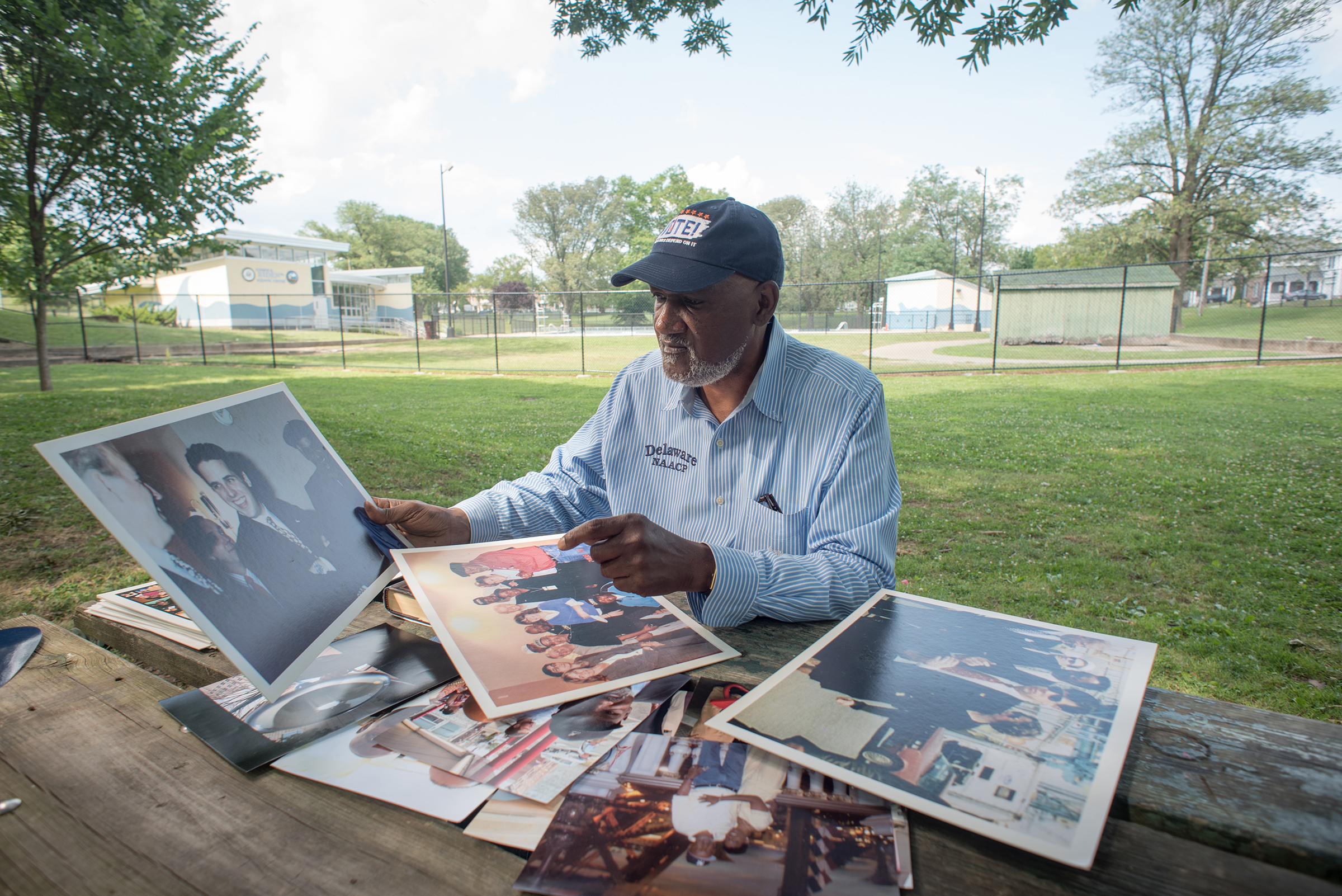 Smith displays some of the photos documenting his work as a Civil Rights leader and his decades long friendship with former Vice President Joe Biden near the pool where they first met as young men in Wilmington, Del. on July 07, 2019