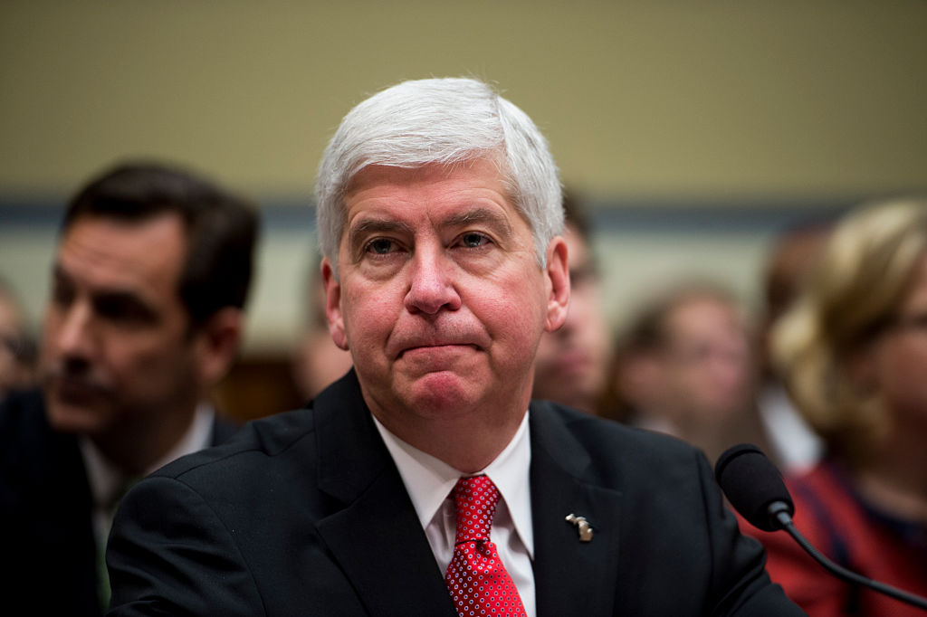 Michigan Gov. Rick Snyder, testifies during the House Oversight and Government Reform Committee hearing on lead contaminated drinking water in Flint, Michigan on Thursday, March 17, 2016.