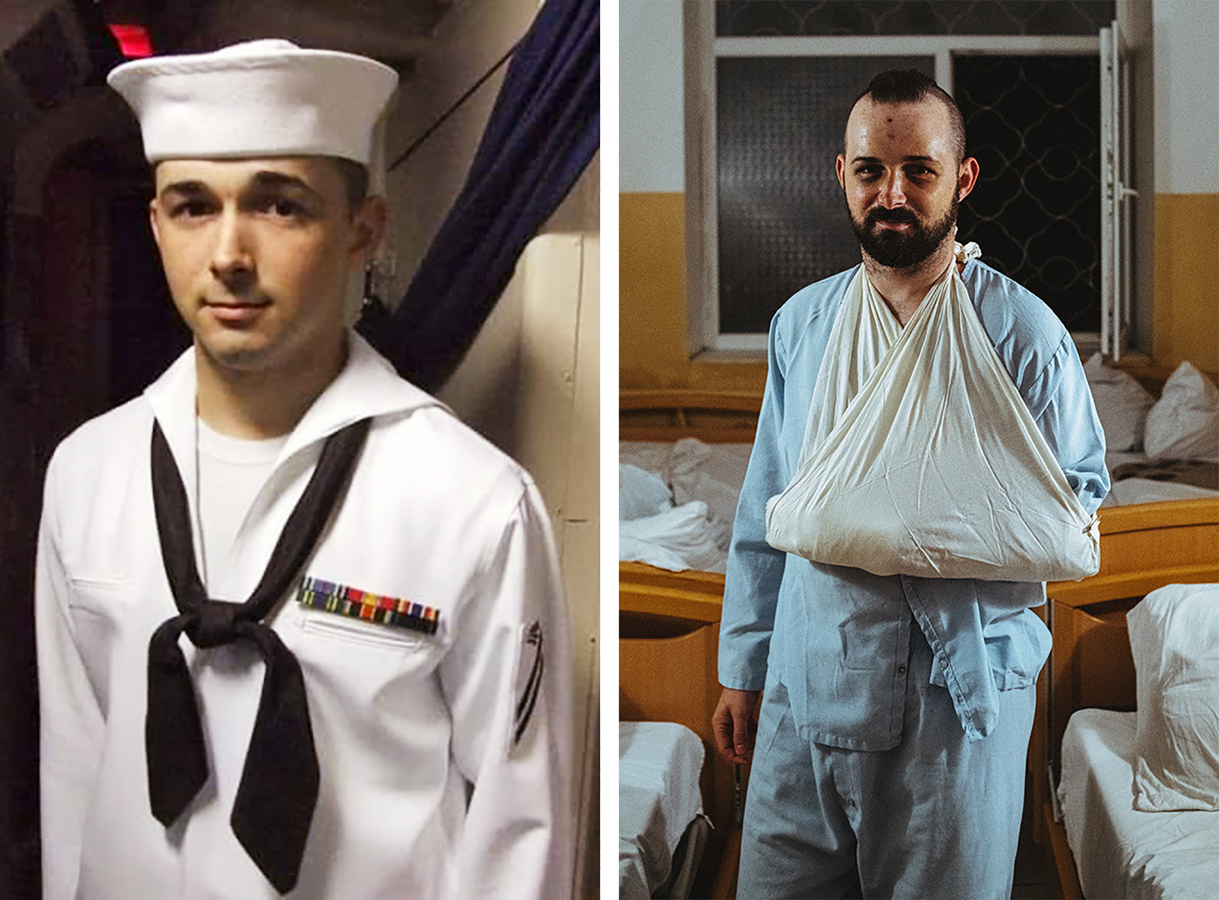 Left: Shawn Fuller aboard the U.S.S. Russell in the Persian Gulf circa 2010; Right: Fuller in 2019 at a Ukraine military hospital after a drunken fight.