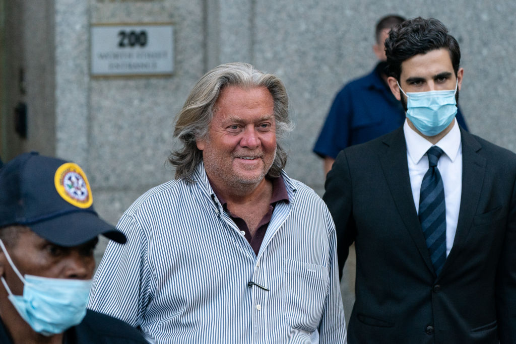 Steve Bannon, former U.S. President Donald Trump political strategist, departs from federal court in New York, U.S., on Thursday, Aug. 20, 2020. Bannon was arrested over his involvement in an online fundraising group that raised more than $25 million to help fund a wall on the U.S.-Mexico border.