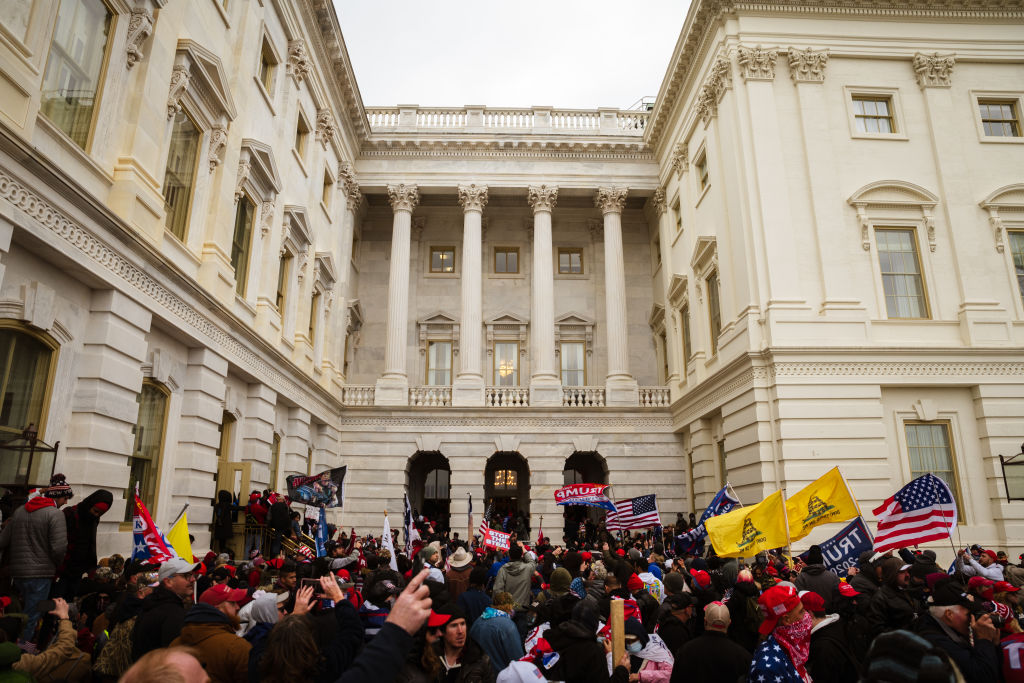 A pro-Trump mob enter the Capitol Building after breaking into it on January 6, 2021 in Washington, DC.