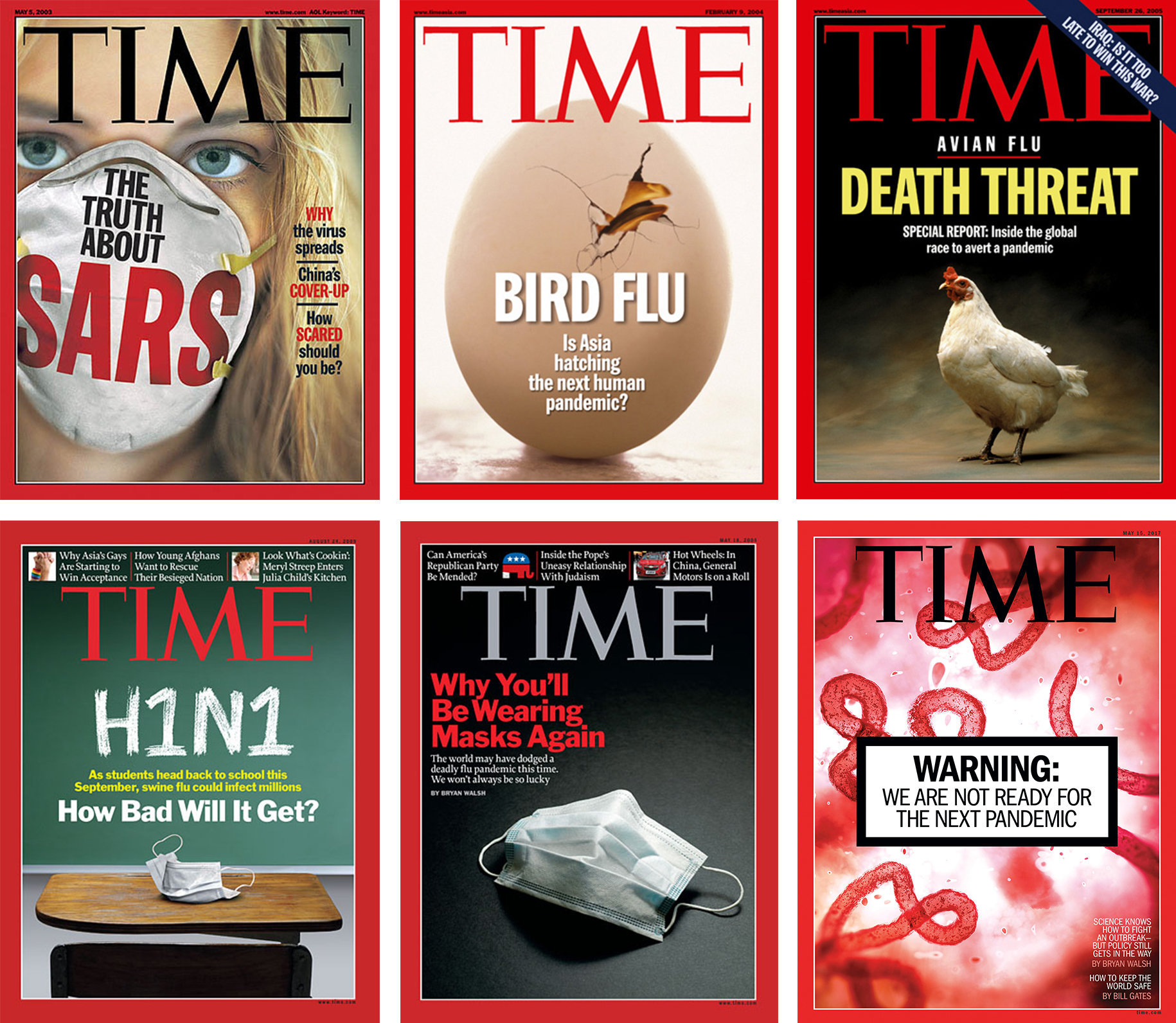 TIME covers from 2003, 2004, 2005, 2007, 2009, and 2017, in order
