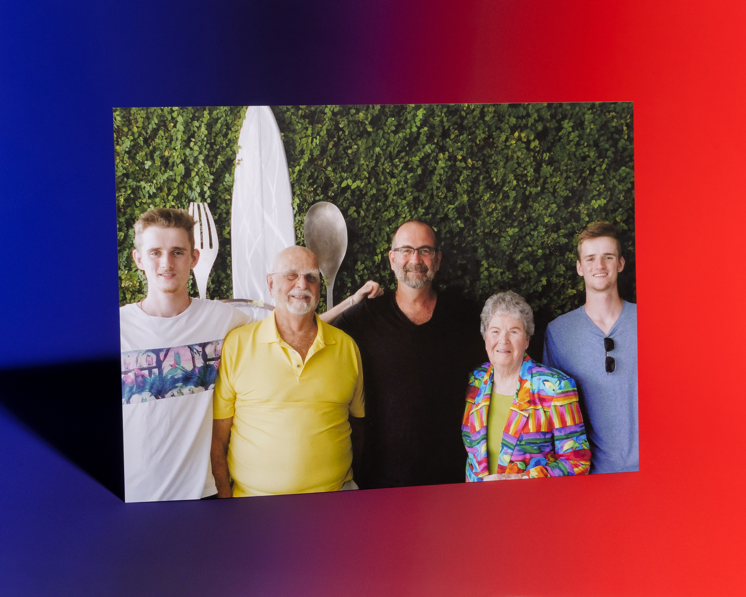 Paul Groen, center, flanked by his parents, Paul and Maxine, and his twin sons in Florida in 2019