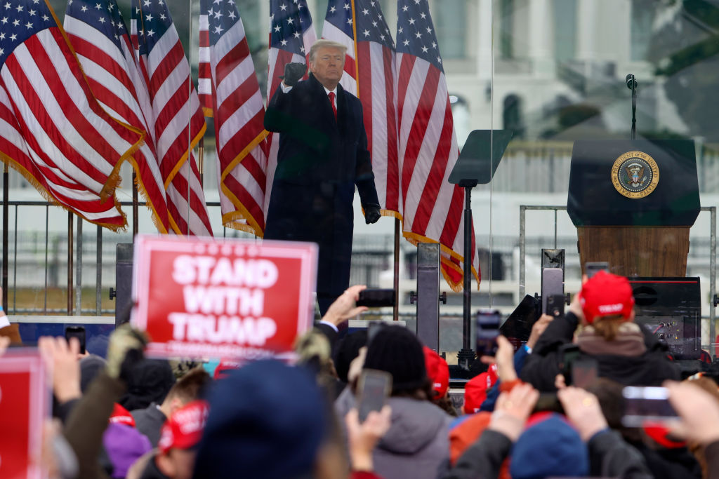 President Donald Trump greets the crowd at the  Stop The Steal  Rally on January 6, 2021 in Washington, DC.