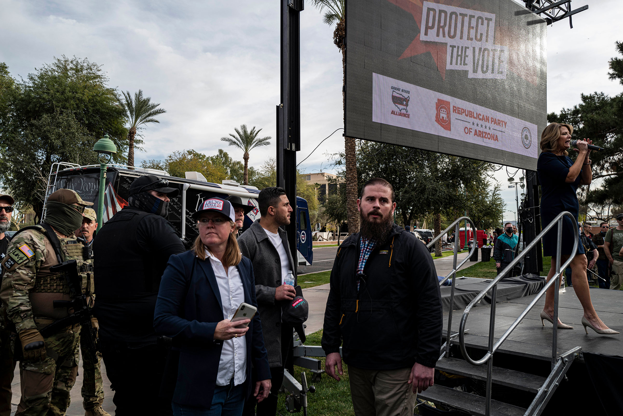Kelli Ward, chair of the Arizona Republican party, speaks onstage at a protest in Phoenix, on Jan. 6, 2021.