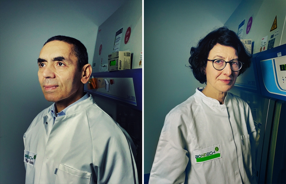 BioNTech co-founders Drs. Ugur Sahin and Ozlem Tureci in a BioNTech lab in Mainz, Germany, on Jan. 3.
