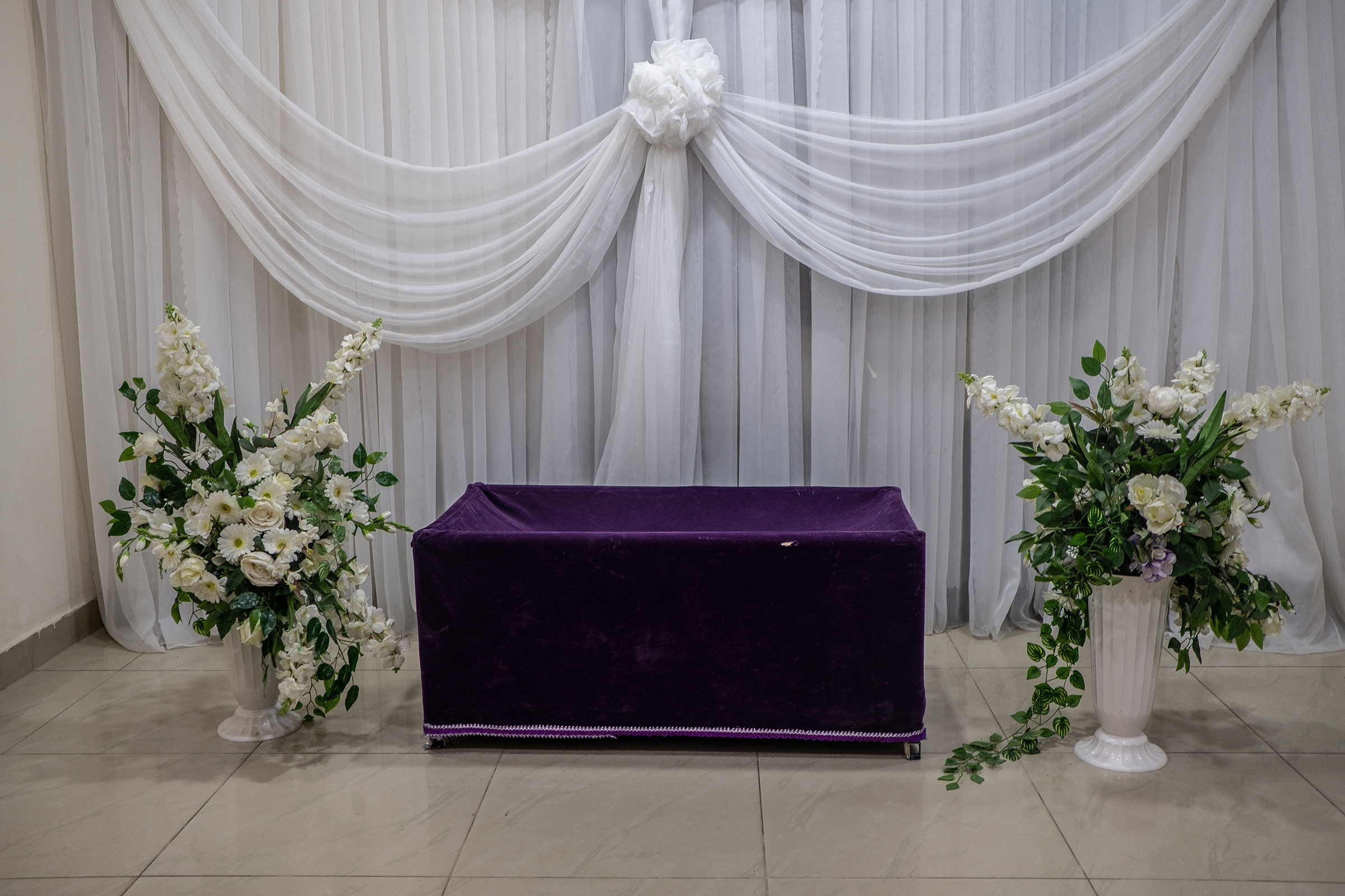 An empty viewing room at the Ebony Funeral Home in Lagos on Dec. 8, 2020.