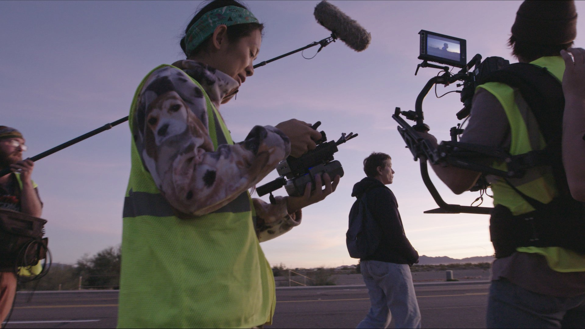 Director/Writer Chloé Zhao and Frances McDormand on the set of Nomadland'