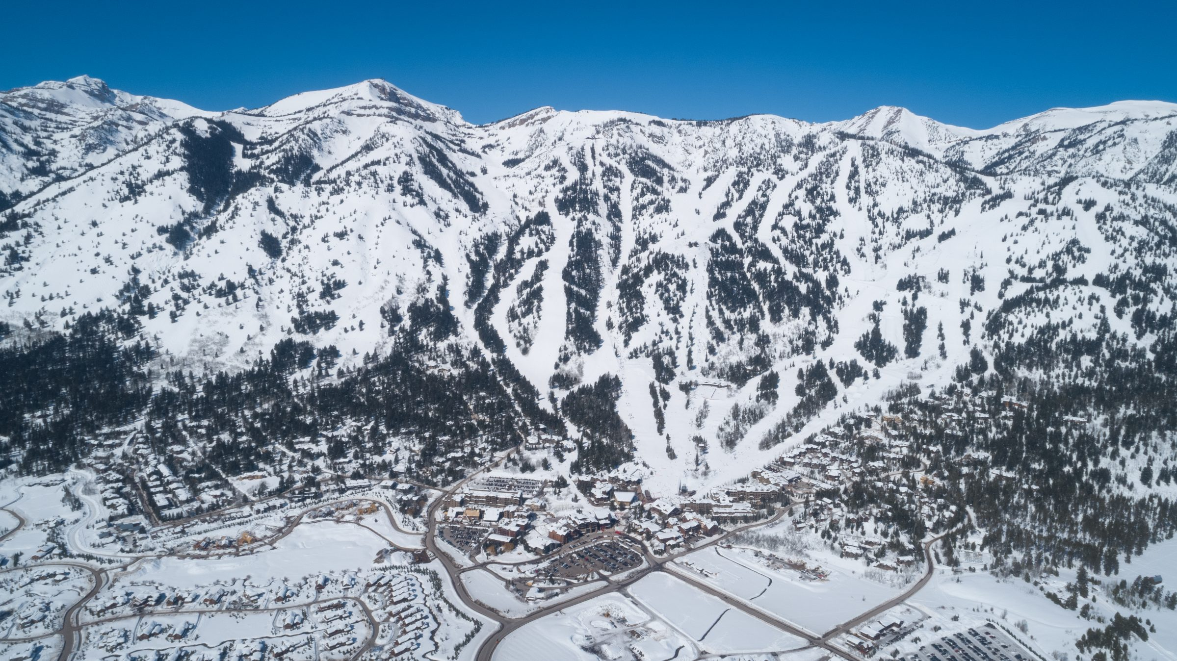 A view of the JHMR slopes and the village at the base of the mountain in Jackson, Wyoming.