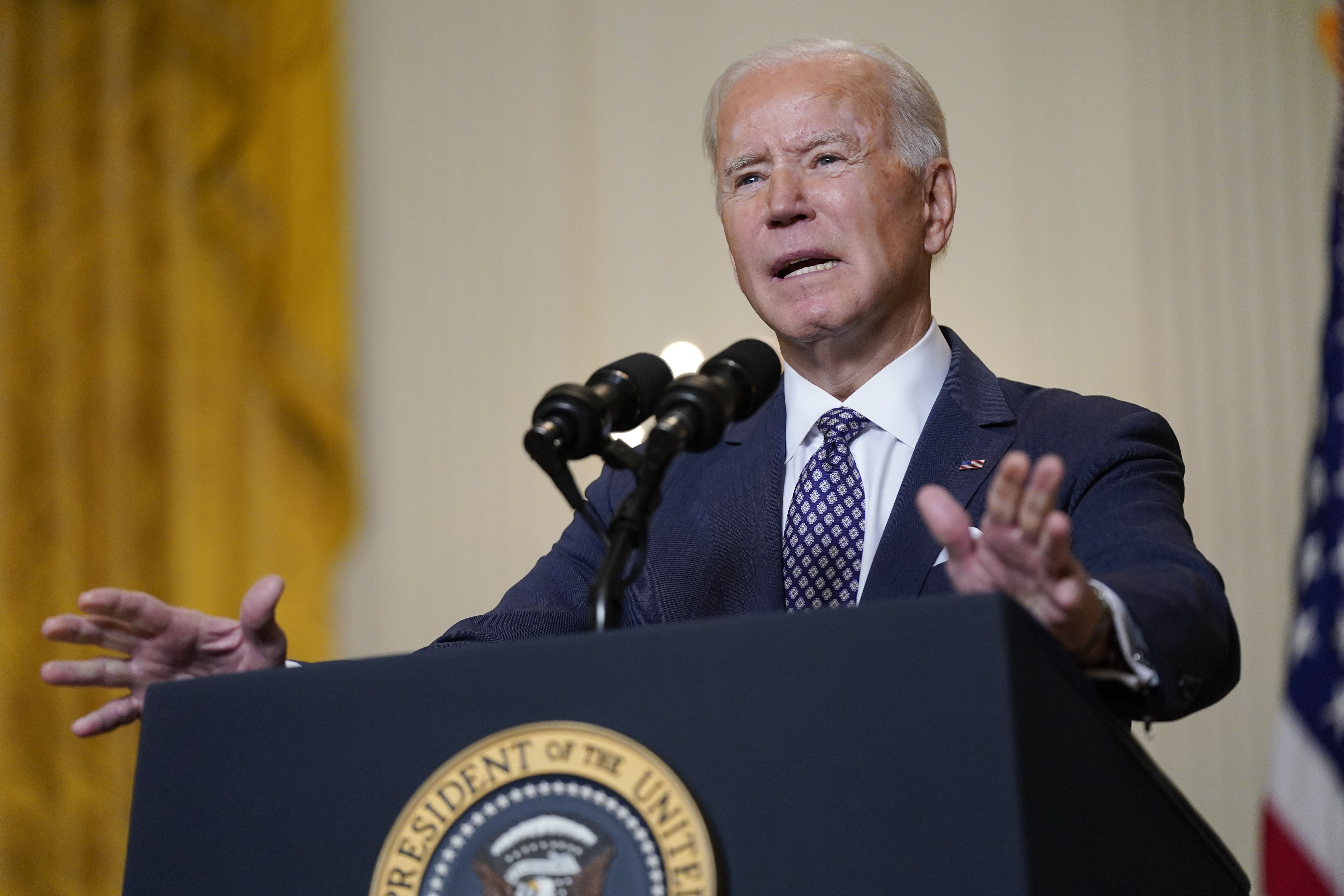 President Joe Biden speaks during a virtual event with the Munich Security Conference in the East Room of the White House, in Washington, D.C., on  Feb. 19, 2021,