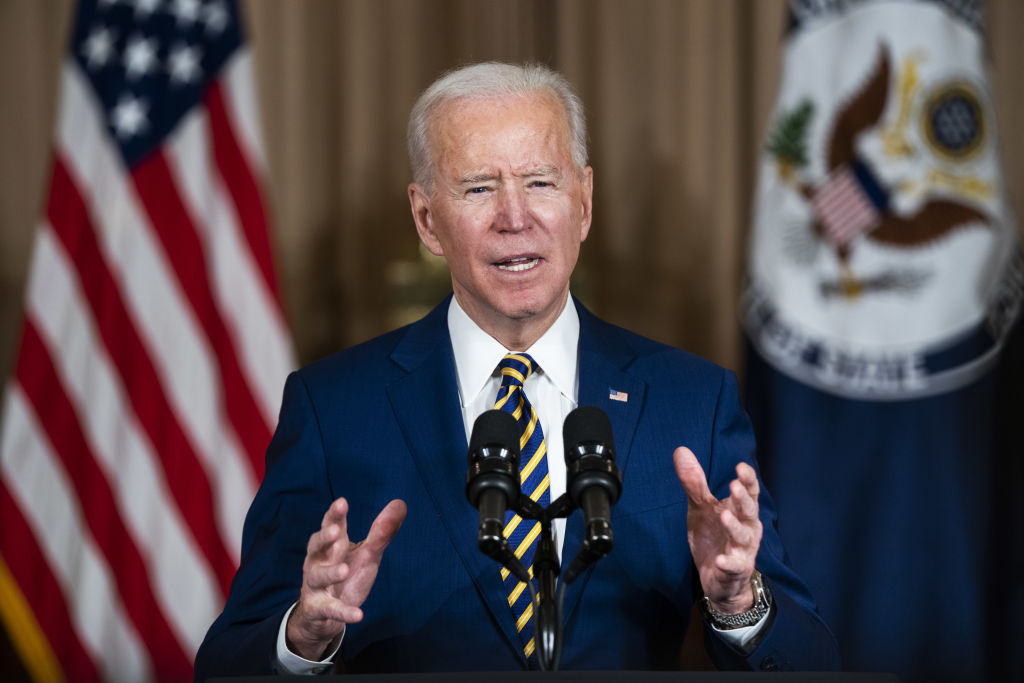 U.S. President Joe Biden speaks at the State Department in Washington, D.C., on Feb. 4, 2021.