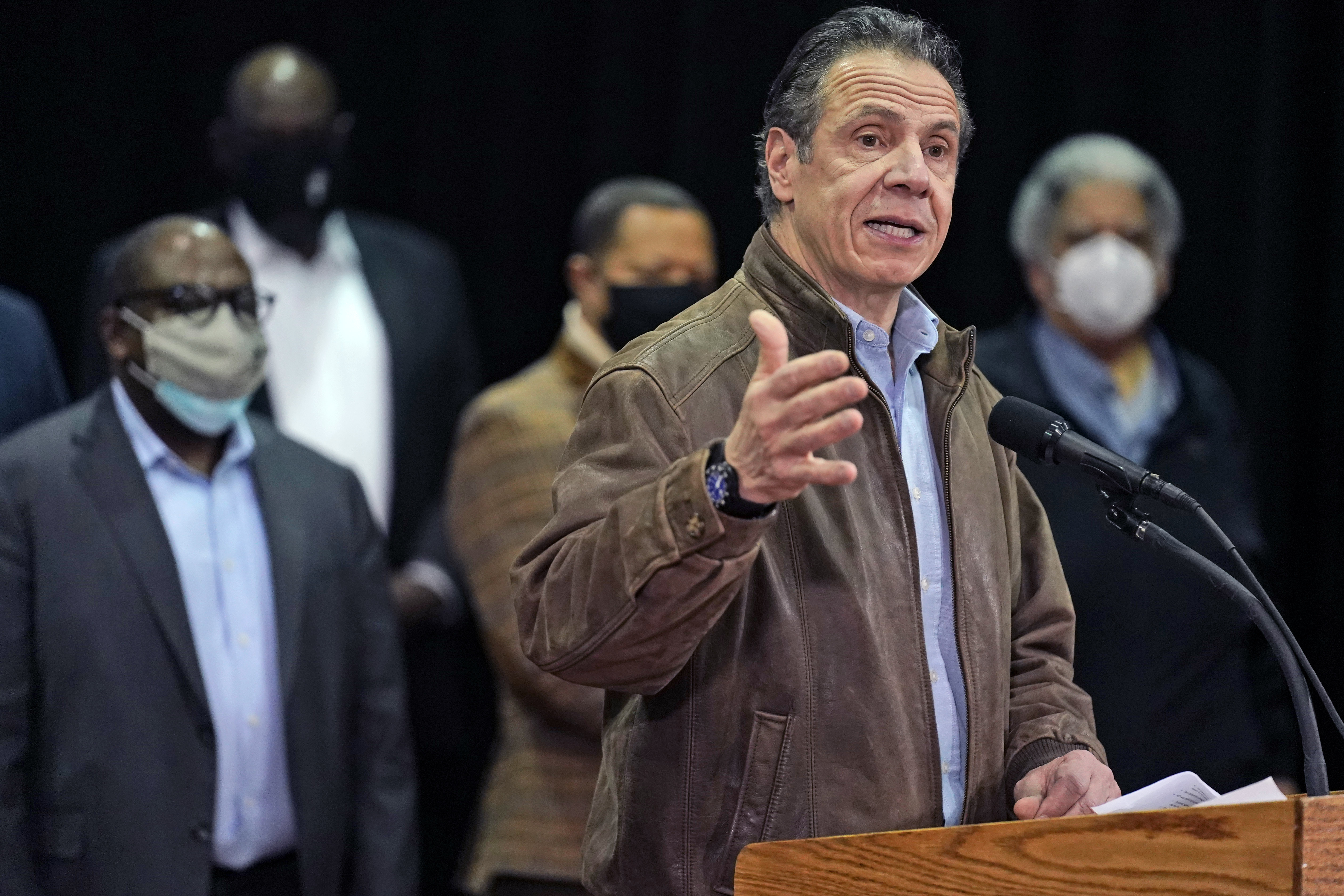 New York Gov. Andrew Cuomo speaks during a press conference before the opening of a mass COVID-19 vaccination site in the Queens,  New York, on Feb. 24, 2021.