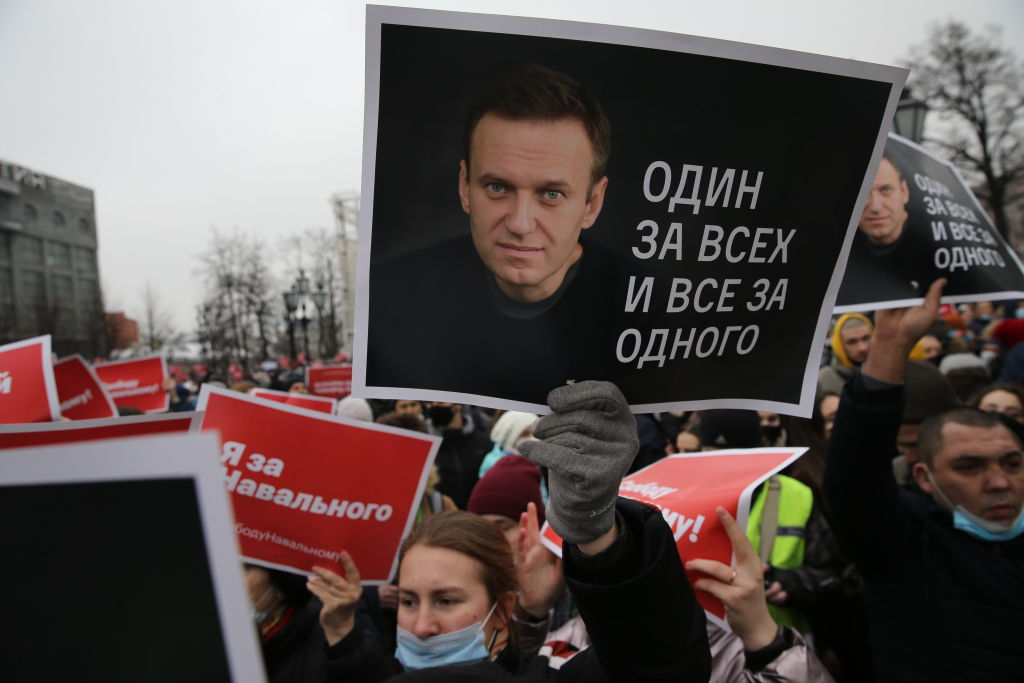 Participants of an unauthorized protest rally against of jailing of oppositon leader Alexei Navalny, on January 23, 2021 in Moscow, Russia.