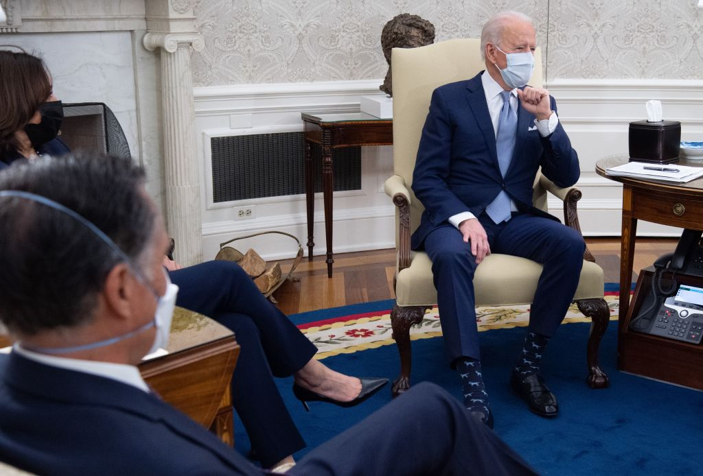 President Biden met in the Oval office with Republican Senators, including Sen. Mitt Romney, to discuss COVID-19 relief plans in early February.