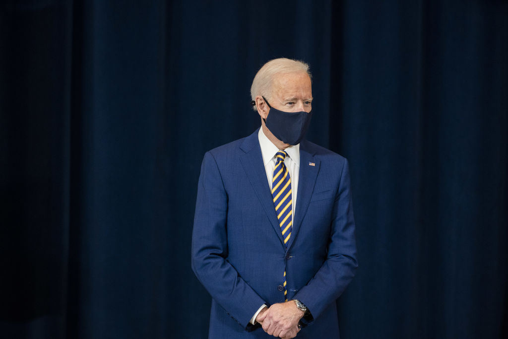 U.S. President Joe Biden wears a protective mask at the State Department in Washington, D.C., on Feb. 4, 2021.