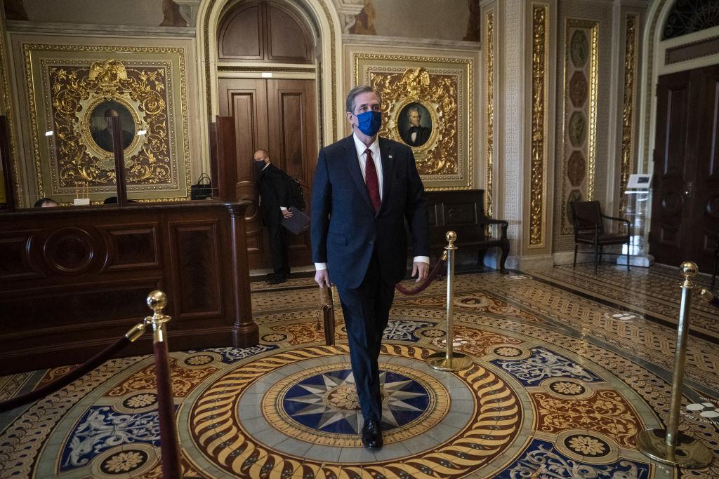 Bruce Castor, defense attorney for Donald Trump, walks through the Senate Reception Room corridor at the U.S. Capitol in Washington, D.C., on Feb. 12, 2021.