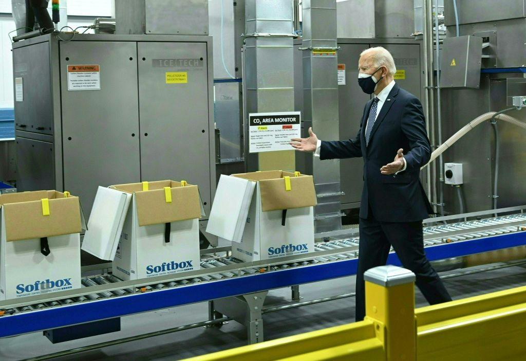 US President Joe Biden tours the Pfizer Kalamazoo Manufacturing Site in Portage, Michigan, on February 19, 2021.