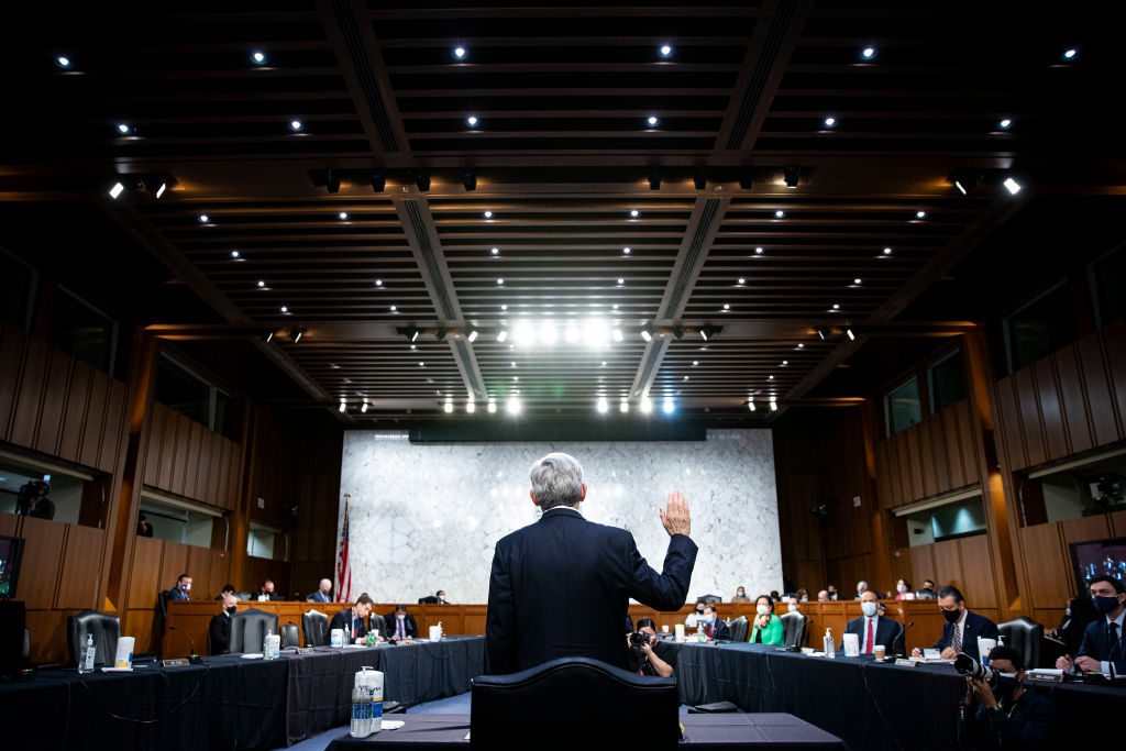 Attorney General nominee Merrick Garland is sworn-in during his confirmation hearing before the Senate Judiciary Committee in the Hart Senate Office Building in Washington, DC, on February 22, 2021.