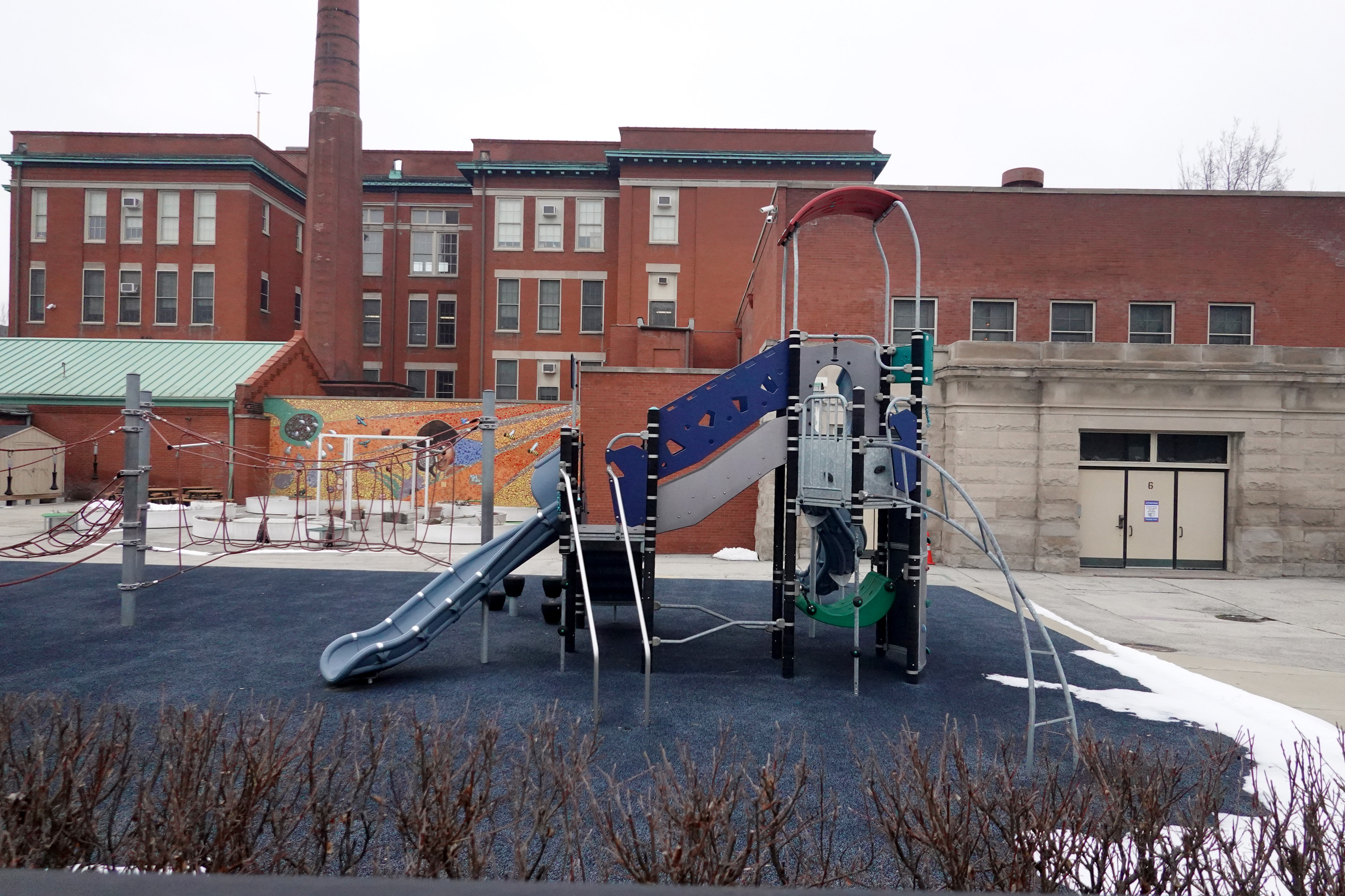 The playground was empty at Burr Elementary School in Chicago on Jan. 25, 2021, as the teachers' union and the city failed to reach agreement on the planned reopening of schools to in-person learning.