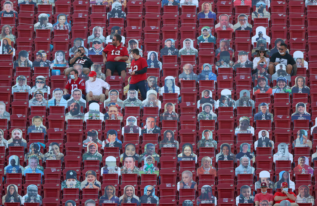 Fans sit among cardboard cutouts before Super Bowl LV between the Tampa Bay Buccaneers and the Kansas City Chiefs at Raymond James Stadium on February 07, 2021 in Tampa, Florida.