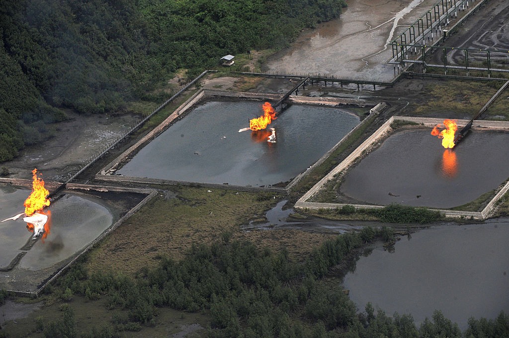 A picture taken on March 22, 2013 shows gas flare at Shell Cawtharine Channel, Nembe Creek in the Niger Delta