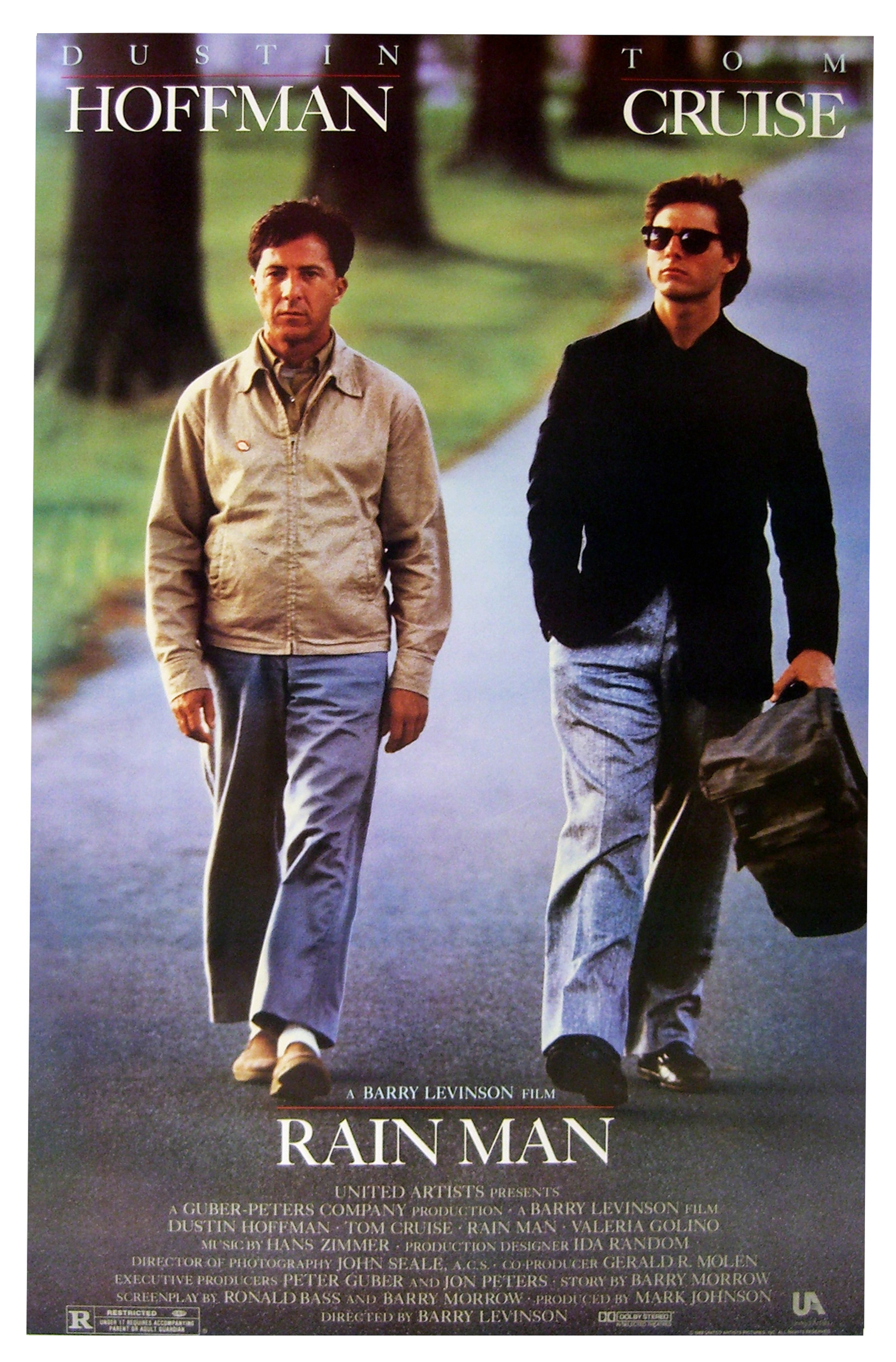 The poster for the 1998 movie  Rain Man,  starring Dustin Hoffman and Tom Cruise. The movie was the highest-grossing film of the year and won four Oscars, including Best Actor for Hoffman