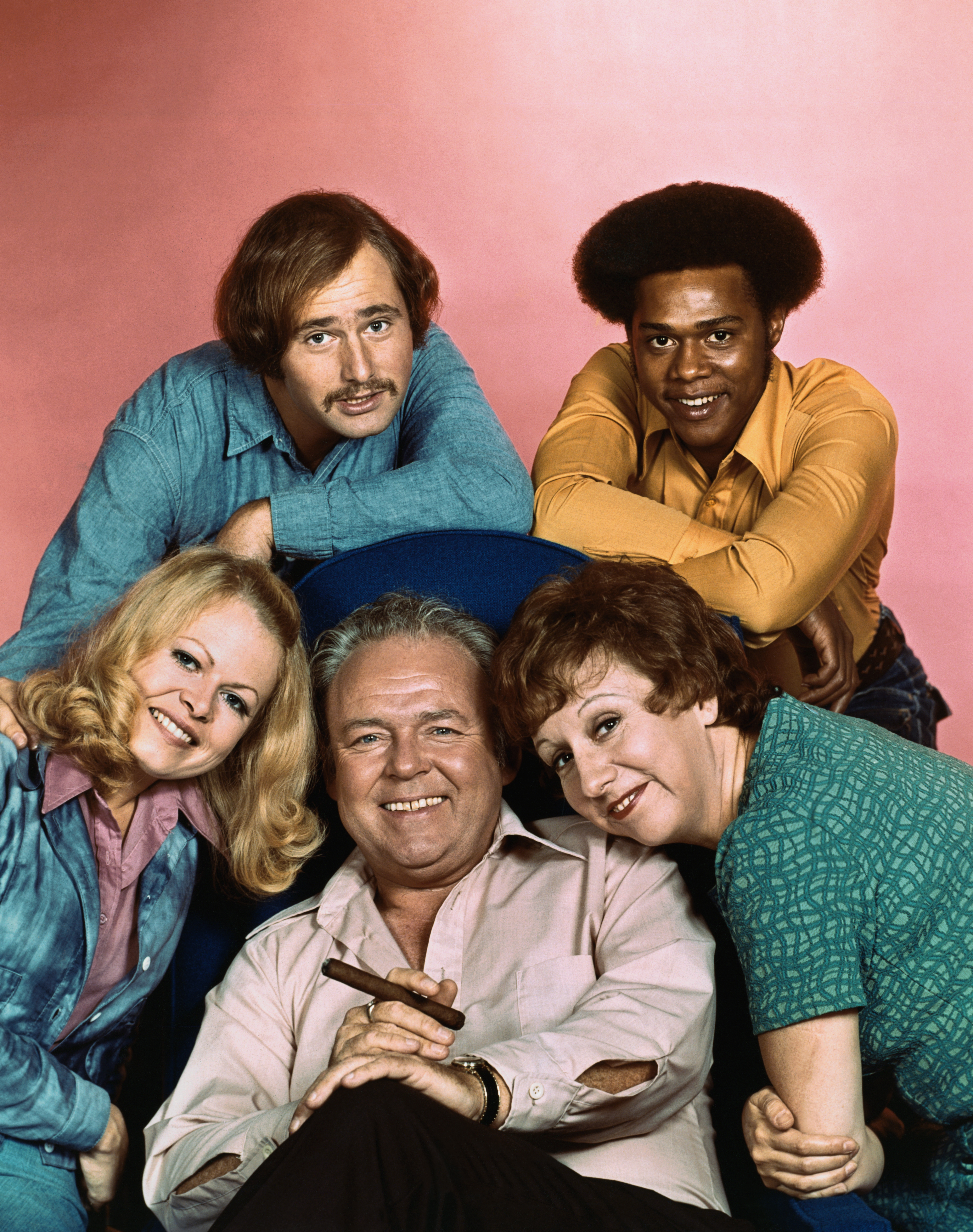 The cast of 'All in the Family': Carroll O'Connor (center), Sally Struthers (left), Rob Reiner (top left), Mike Evans and Jean Stapleton.