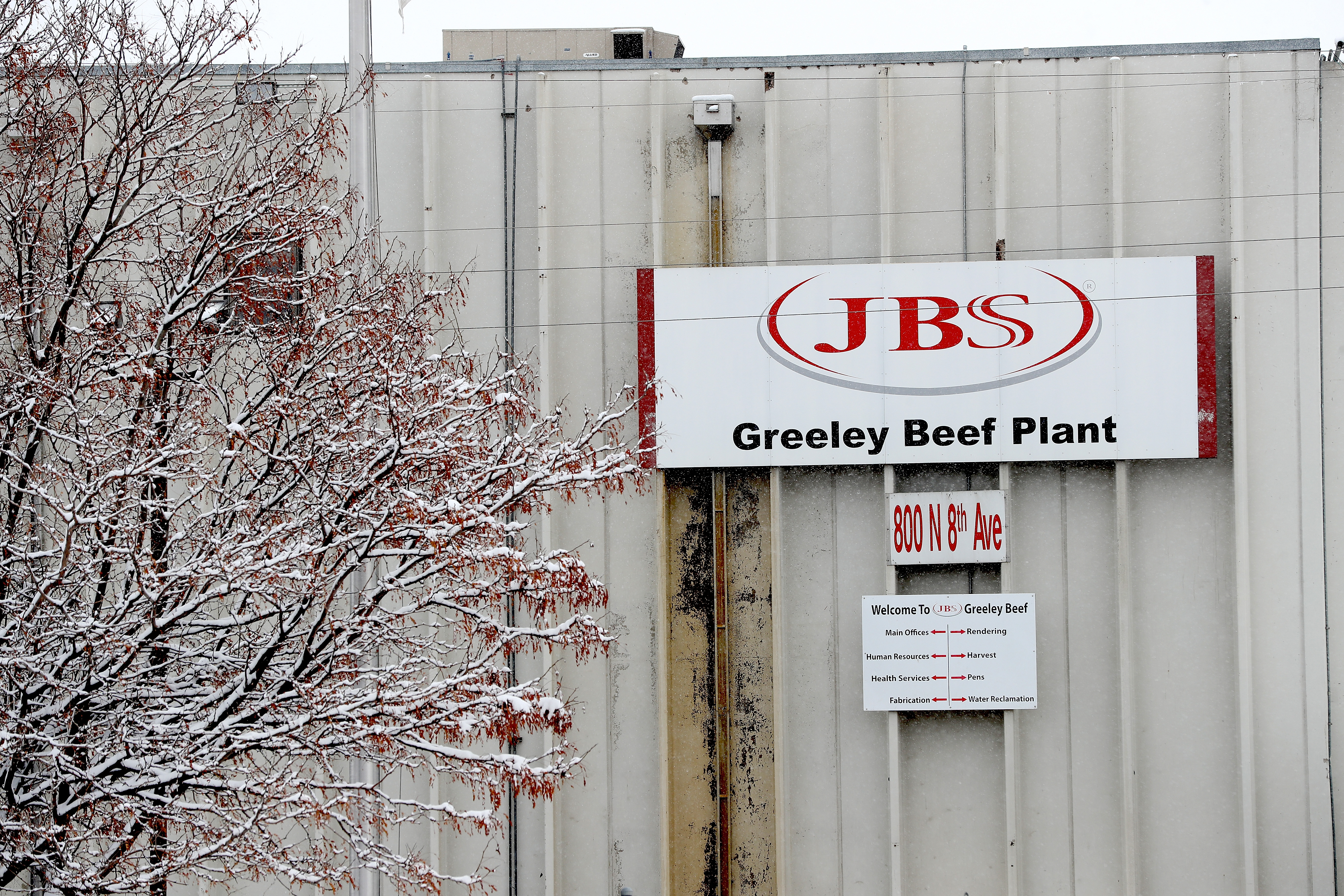 The Greeley JBS meat packing plant sits idle on April 16, 2020 in Greeley, Colo. The meat packing facility temporarily closed for several days in April to test employees for the coronavirus.