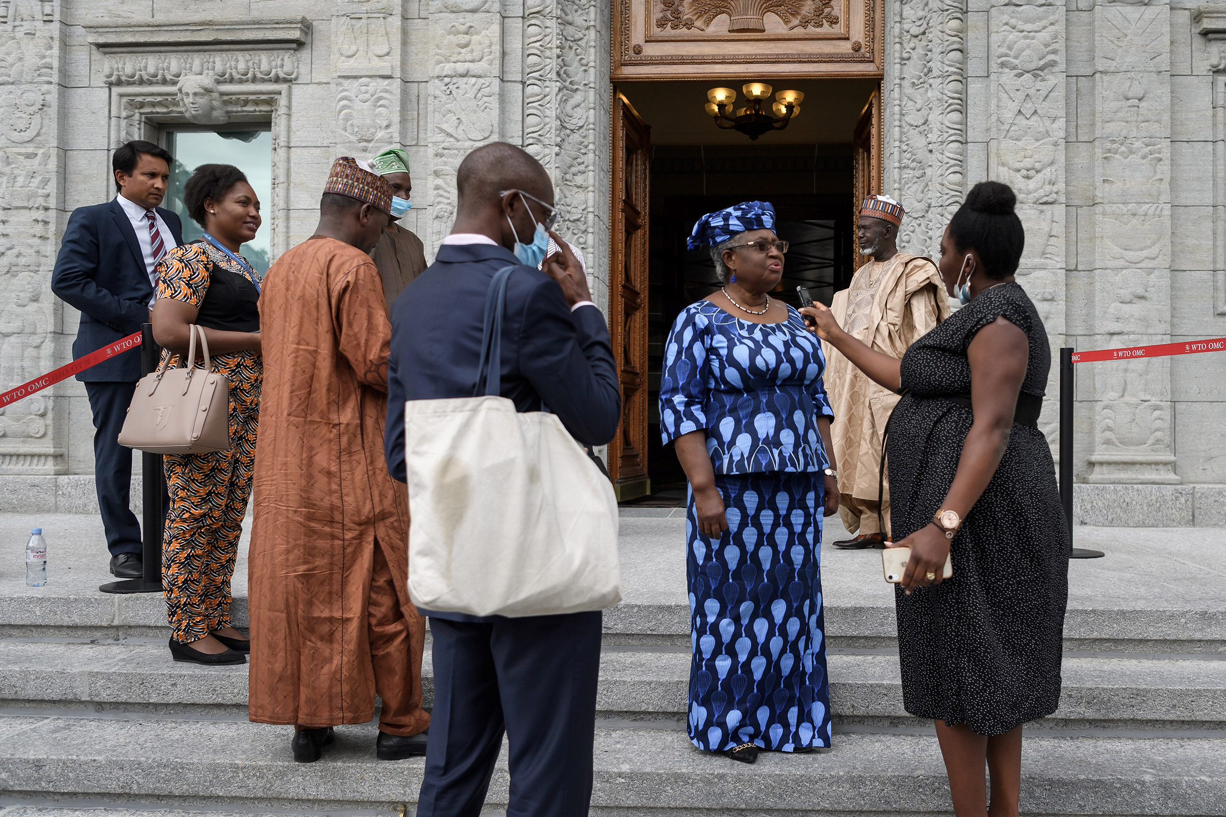 Nigerian former Foreign and Finance Minister Ngozi Okonjo-Iweala speaks to a journalist in Geneva, on July 15, 2020.