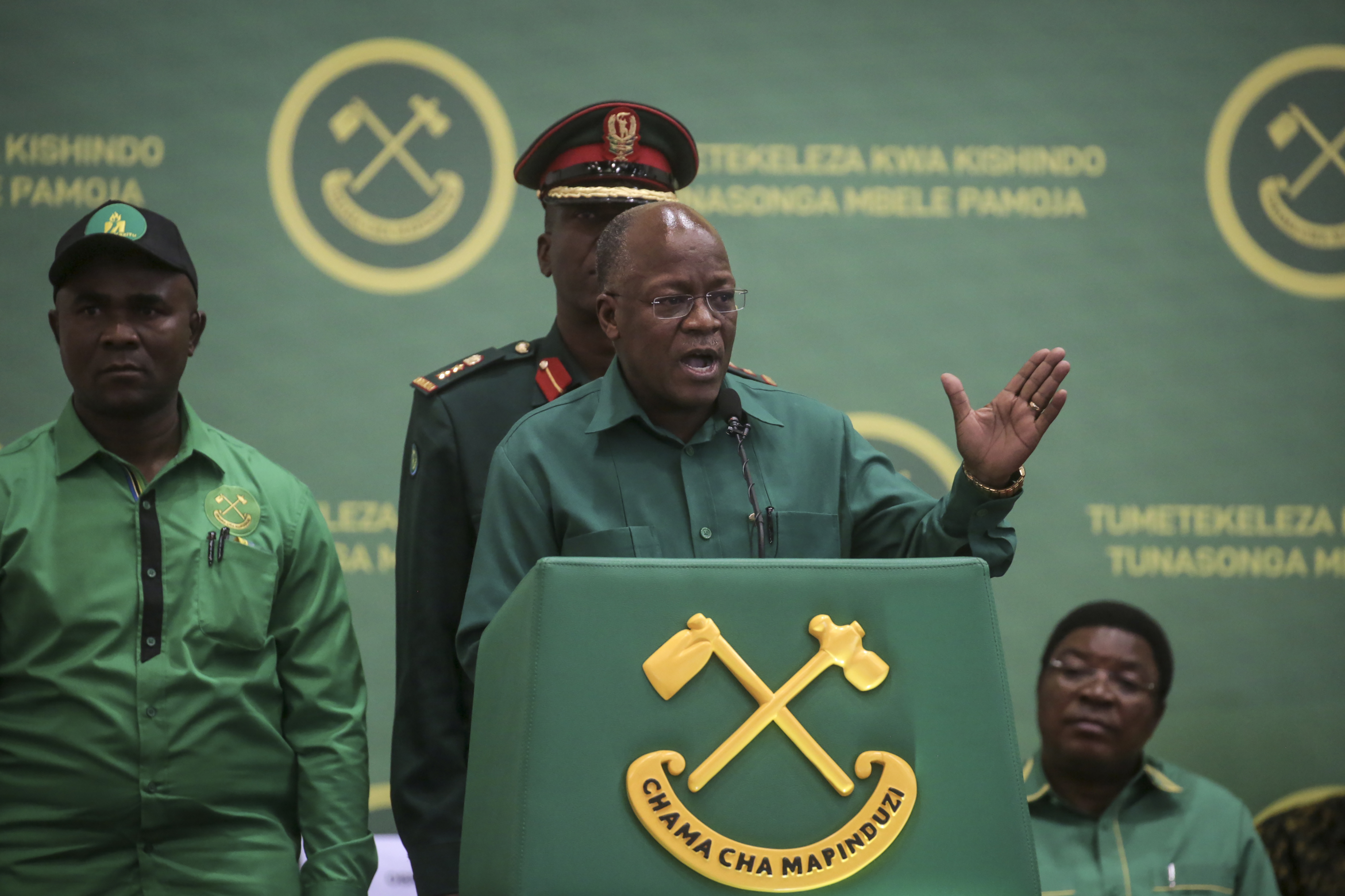 Tanzania's President John Magufuli speaks at the national congress of his ruling Chama cha Mapinduzi (CCM) party in Dodoma, Tanzania, on July 11, 2020.