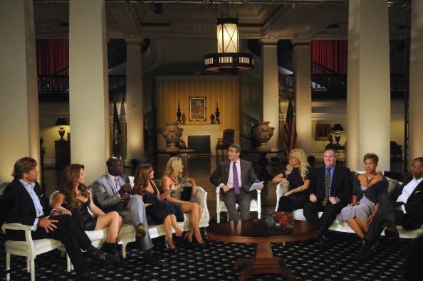 The Real Housewives of DC Season 1 Reunion - Pictured: (l-r) Rich Amons, Mary Schmidt-Amons, Ebong Eka, Lynda Erkiletian, Catherine Ommanney, Andy Cohen, Michaele Salahi, Tareq Salahi, Stacie Turner, Jason Turner