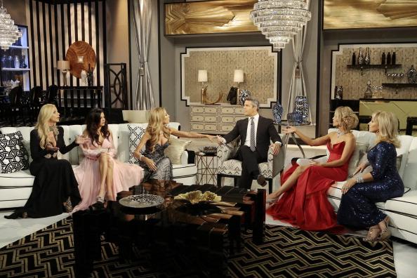 The Real Housewives of Miami Season 3 Reunion - Pictured: (l-r) Alexia Echevarria, Adriana De Moura, Lisa Hochstein, Andy Cohen, Joanna Krupa, Lea Black
