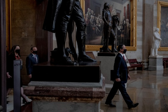 2/9/21, Washington, D.C. House managers walk to the Senate floor for the start of the impeachment trial at the Capitol in Washington, D.C. on Feb. 9, 2021. Gabriella Demczuk / TIME