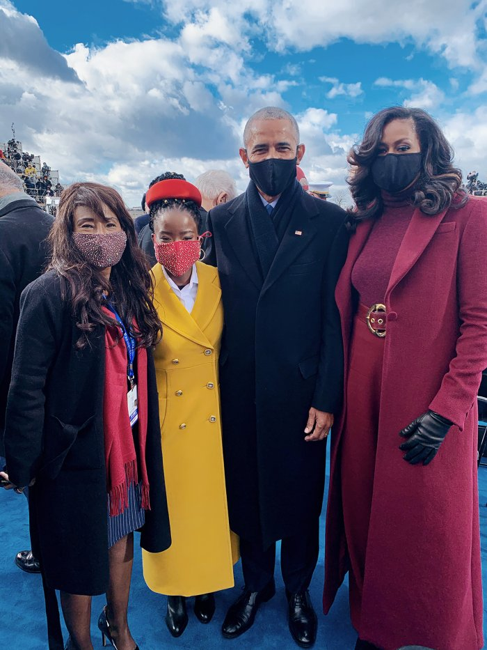 Gorman and her mother Joan Wicks with the Obamas at the Inauguration
