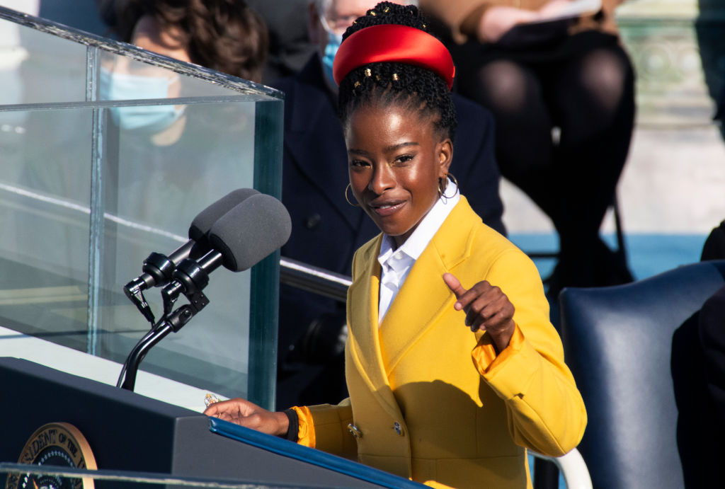 National Youth Poet Laureate Amanda Gorman speaks after Joe Biden was sworn in as the 46th President of the United States by during the inauguration on the West Front of the U.S. Capitol on Wednesday, January 20, 2021.