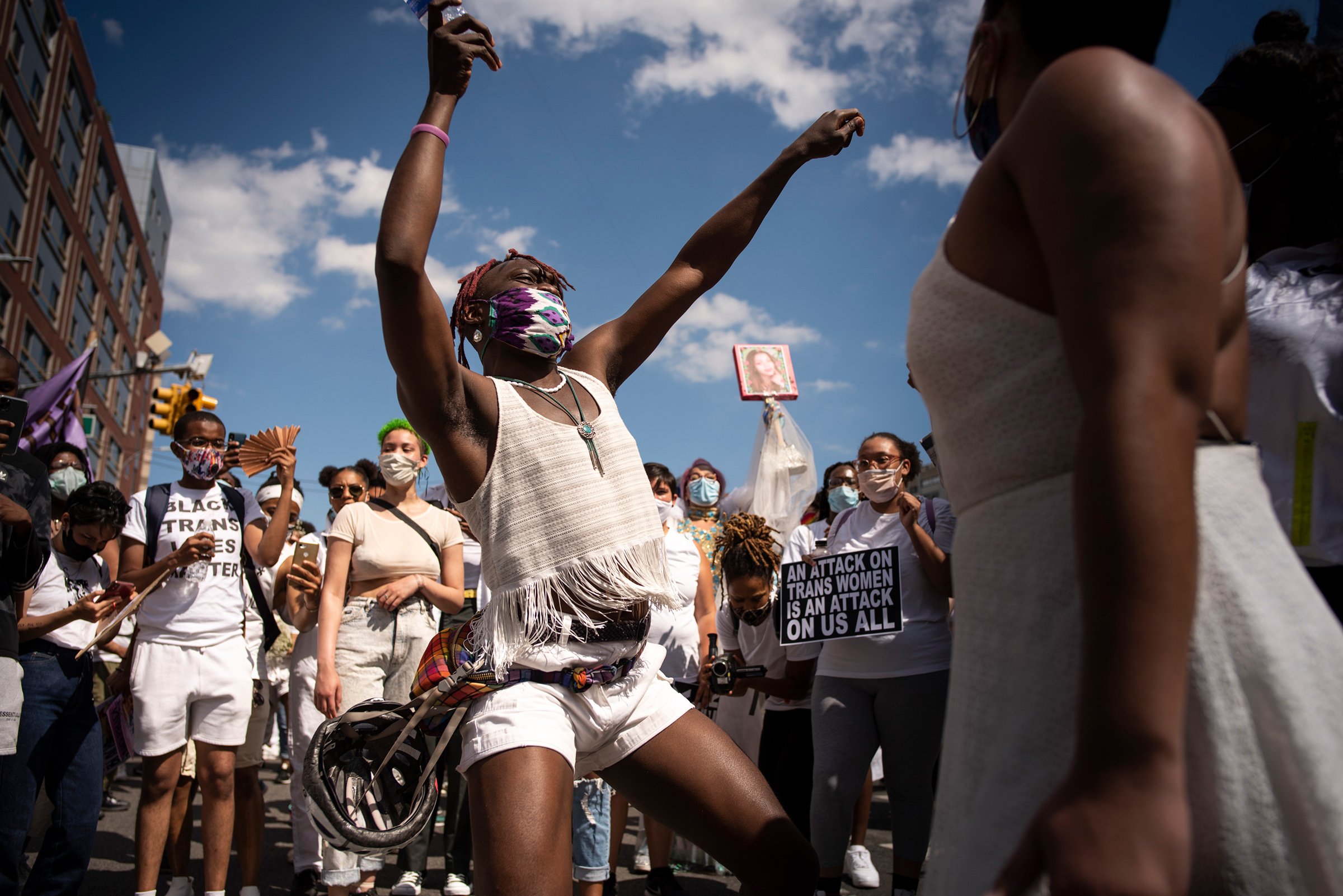 An estimated 15,000 supporters of Black Trans Lives marched in a rally from the Brooklyn Museum to Fort Greene Park in Brooklyn, N.Y. demanding justice for murdered members of their community on June 14, 2020.