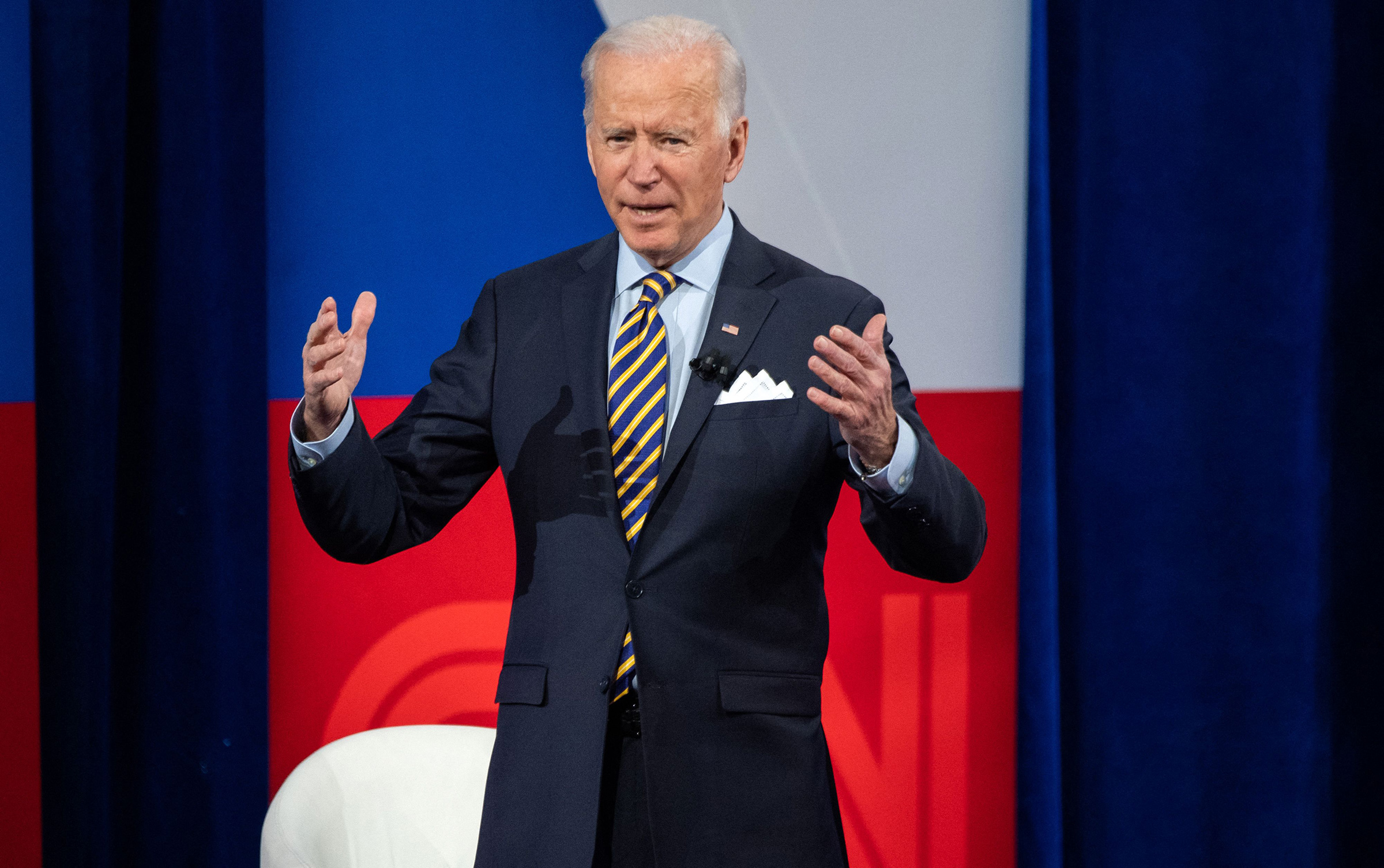 President Joe Biden participates in a CNN town hall at the Pabst Theater in Milwaukee, Wis., on Feb. 16, 2021.