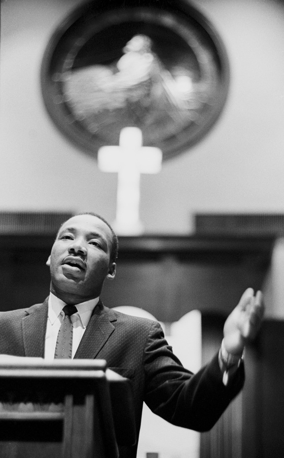 Dr. Martin Luther King Jr. preaching at the Ebenezer Baptist Church in Atlanta, circa 1960.