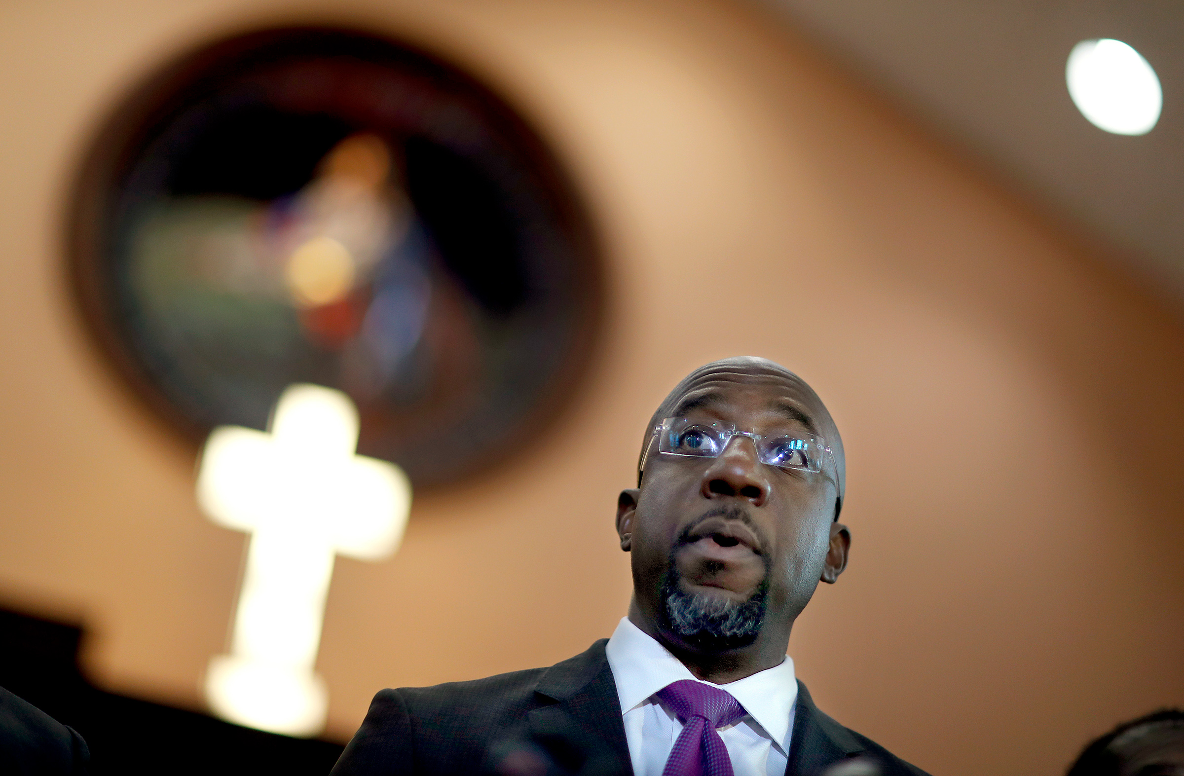 Rev. Raphael Warnock speaks at Ebenezer Baptist Church in Atlanta, on Jan. 12, 2018.