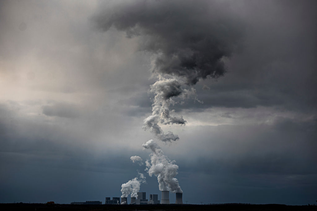The coal power station of Boxberg in Saxony is pictured in front of dark clouds on March 30, 2020 in Neuliebel, Germany.