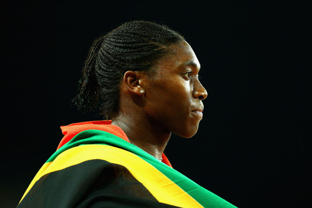 Caster Semenya of South Africa celebrates wins gold in the Women's 800m final during athletics on day nine of the Gold Coast 2018 Commonwealth Game on April 13, 2018 on the Gold Coast, Australia.